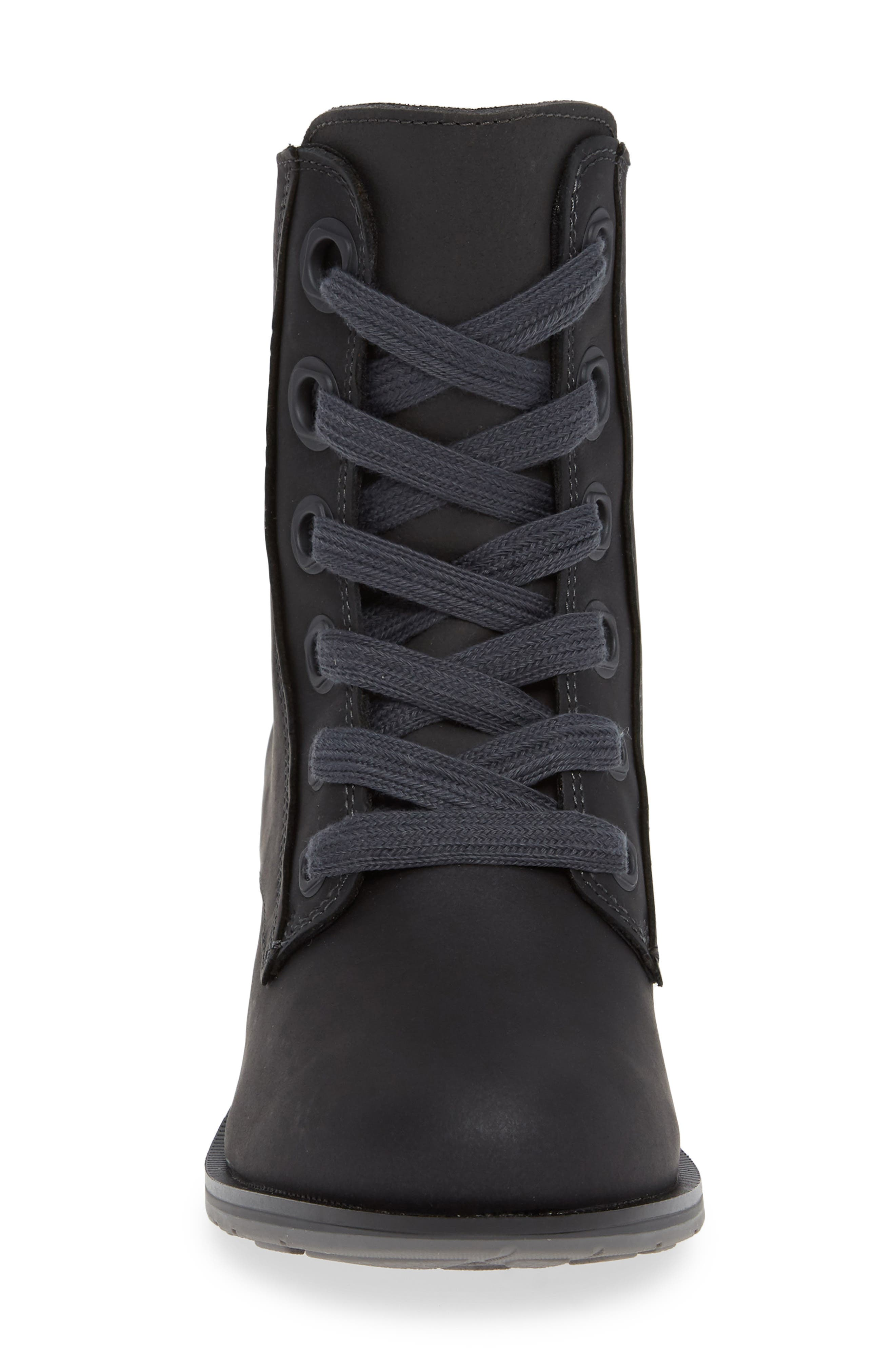 CHACO, Cataluna Waterproof Lace-Up Boot, Alternate thumbnail 4, color, BLACK LEATHER