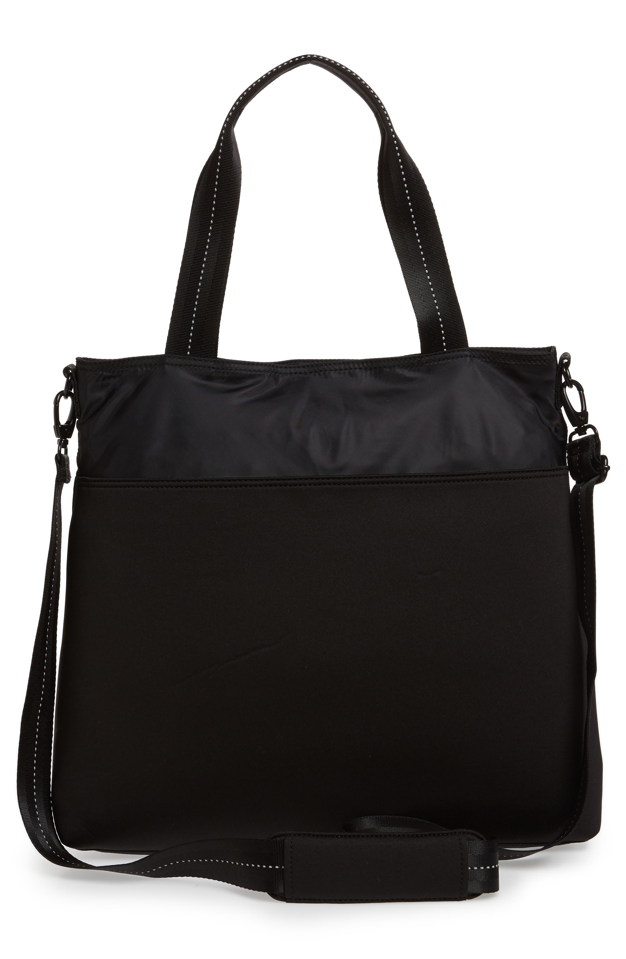 ZELLA, Reflective Nylon Tote Bag, Alternate thumbnail 4, color, BLACK