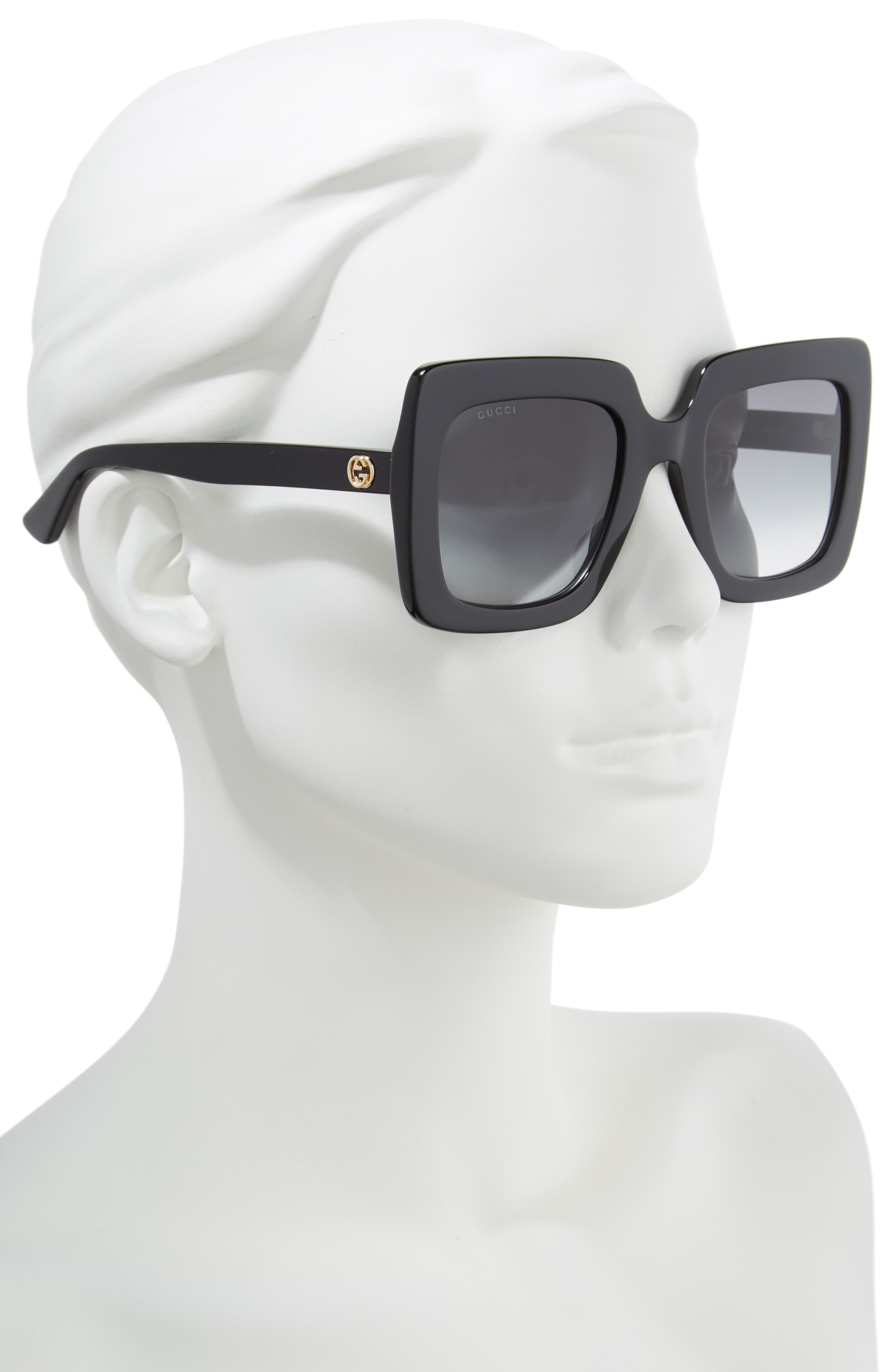 GUCCI, 53mm Square Sunglasses, Alternate thumbnail 2, color, BLACK