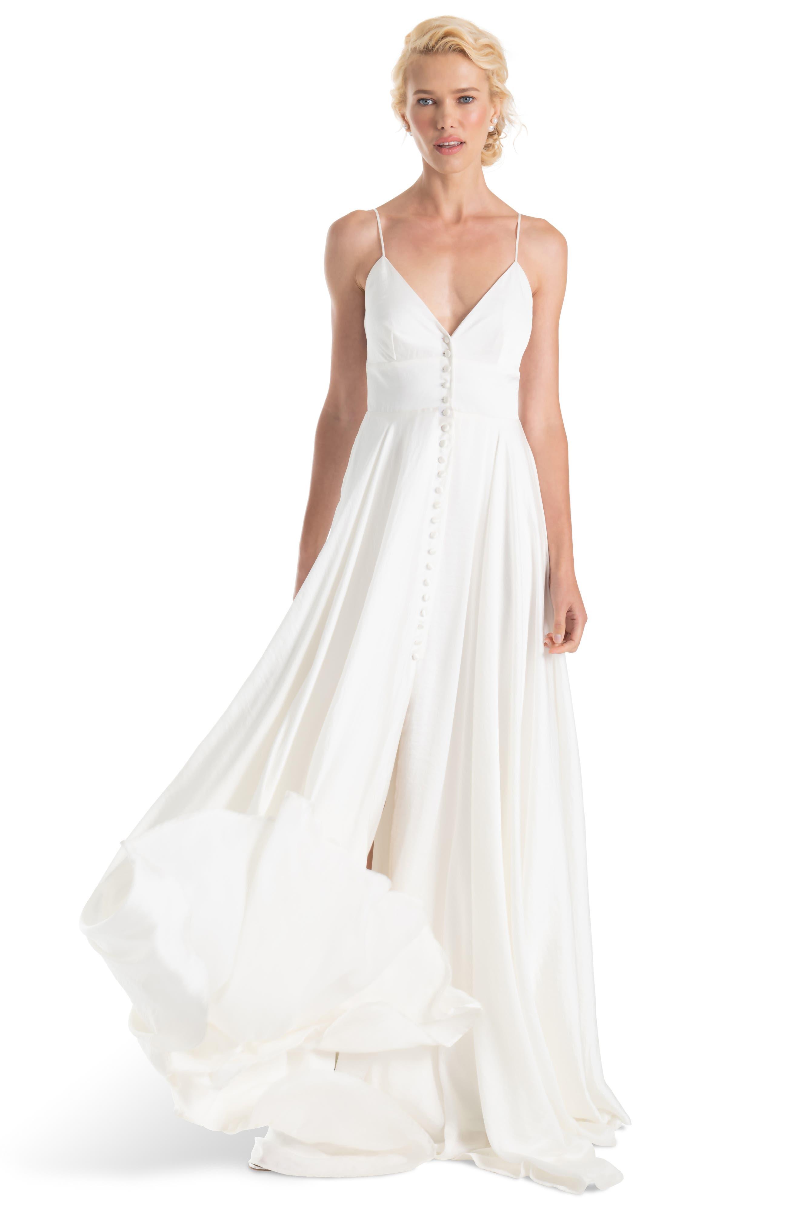 JOANNA AUGUST, Nancy V-Neck Crepe Wedding Dress, Alternate thumbnail 4, color, WHITE