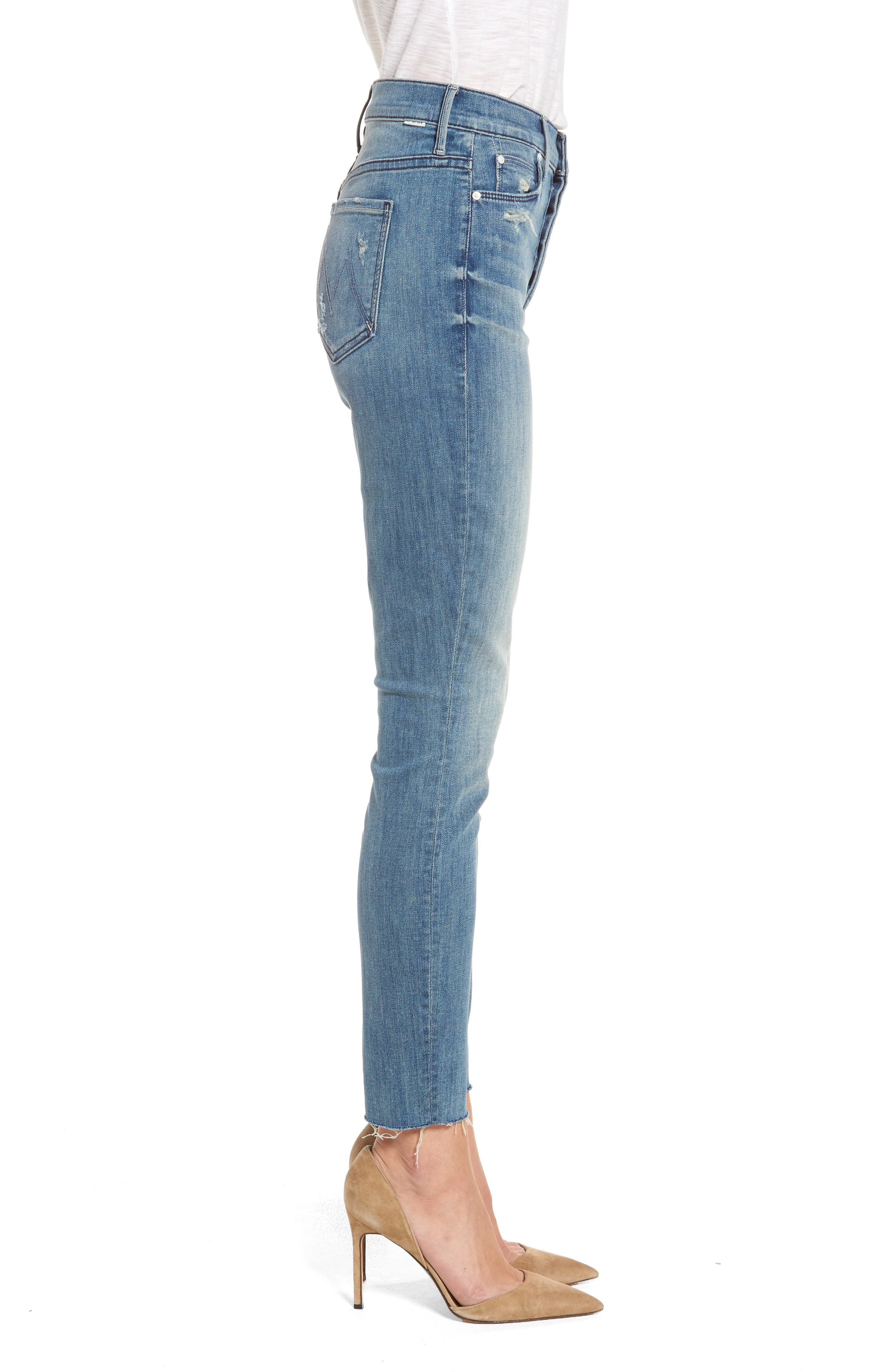 MOTHER, The Stunner Frayed Ankle Skinny Jeans, Alternate thumbnail 4, color, GRAFITTI GIRL