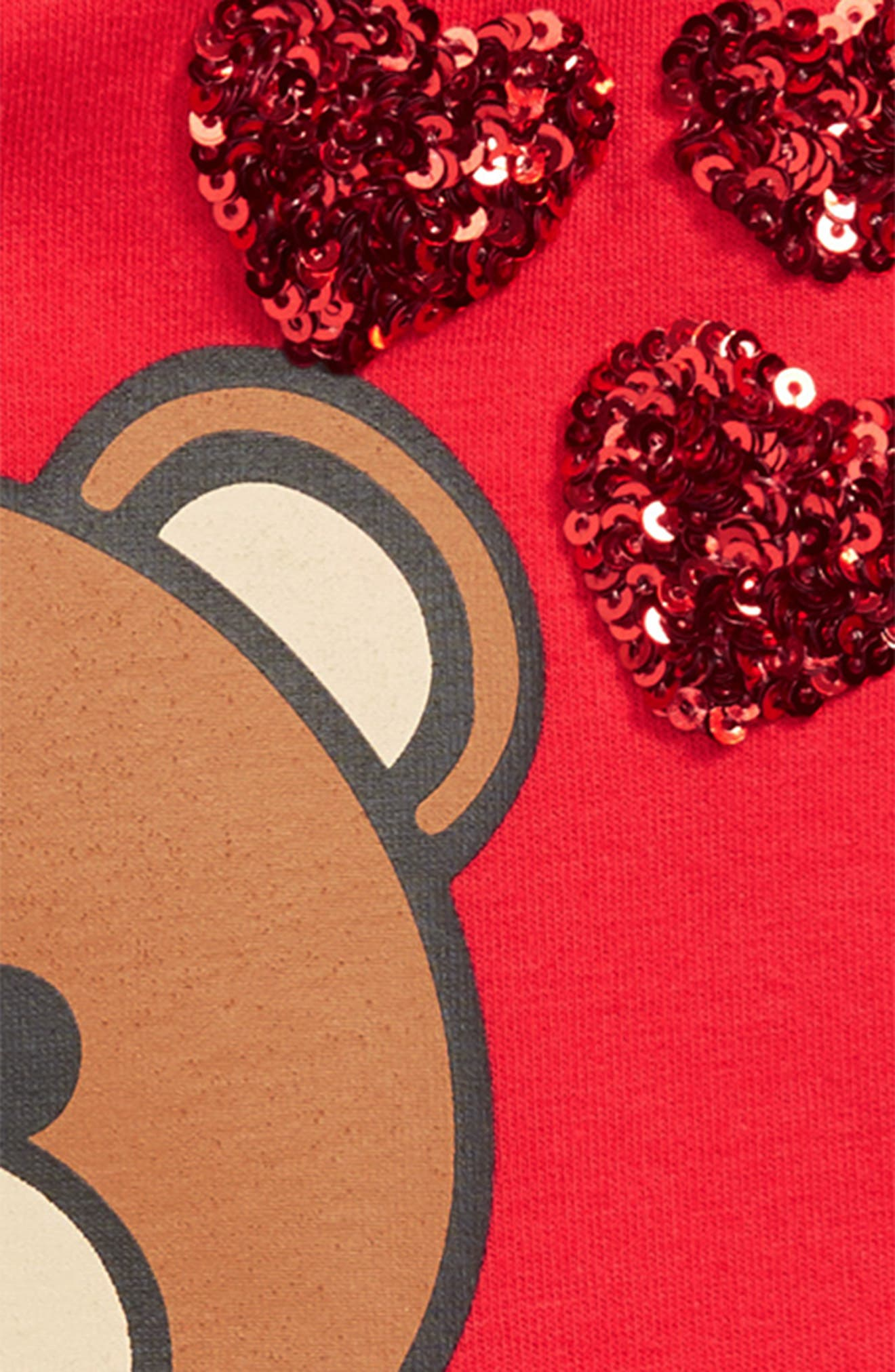MOSCHINO, Toy Bear & Sequin Heart Dress, Alternate thumbnail 3, color, 600