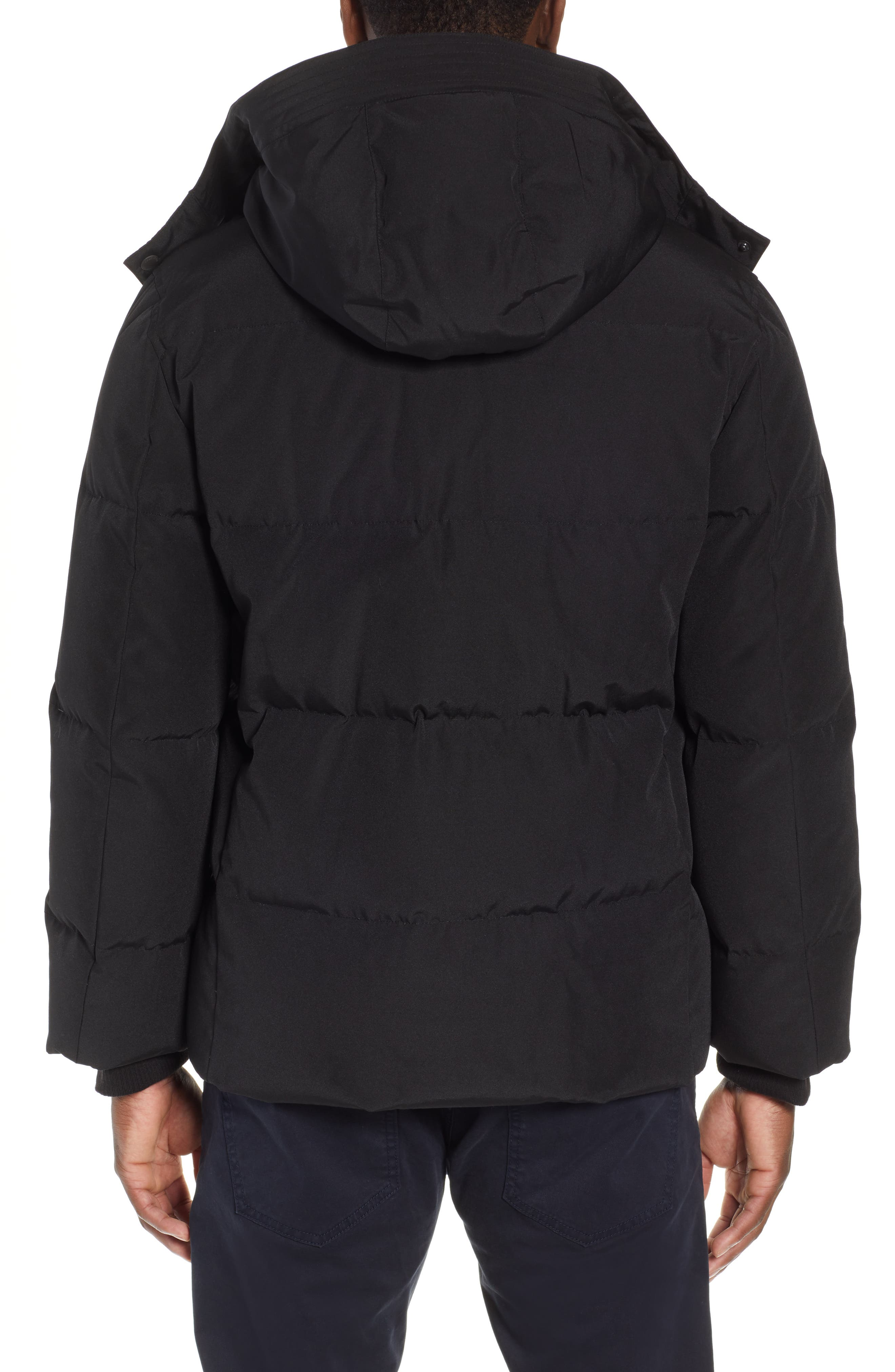 COLE HAAN SIGNATURE, Hooded Puffer Jacket, Alternate thumbnail 2, color, 001