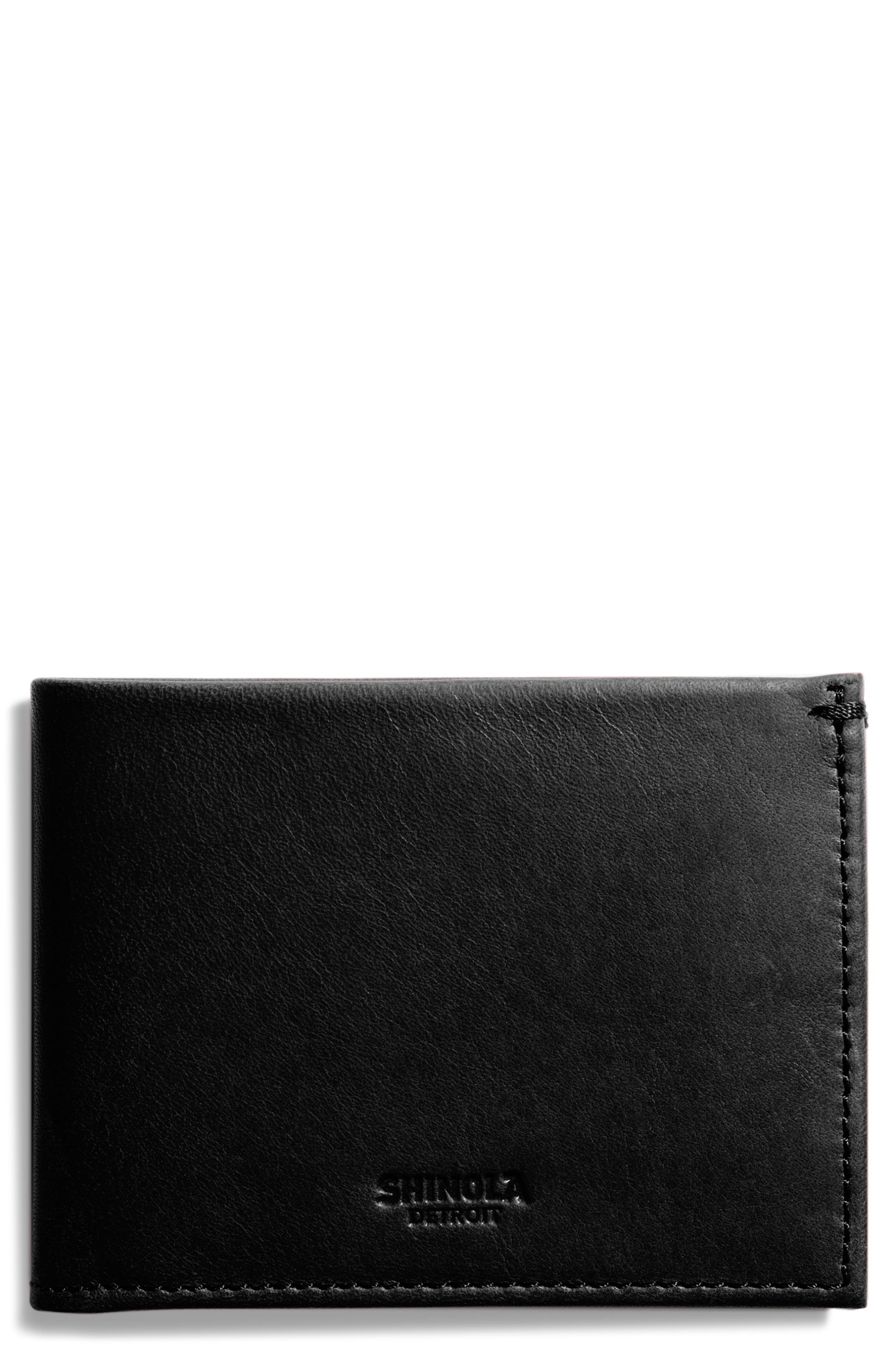 SHINOLA Slim Bifold Leather Wallet, Main, color, BLACK
