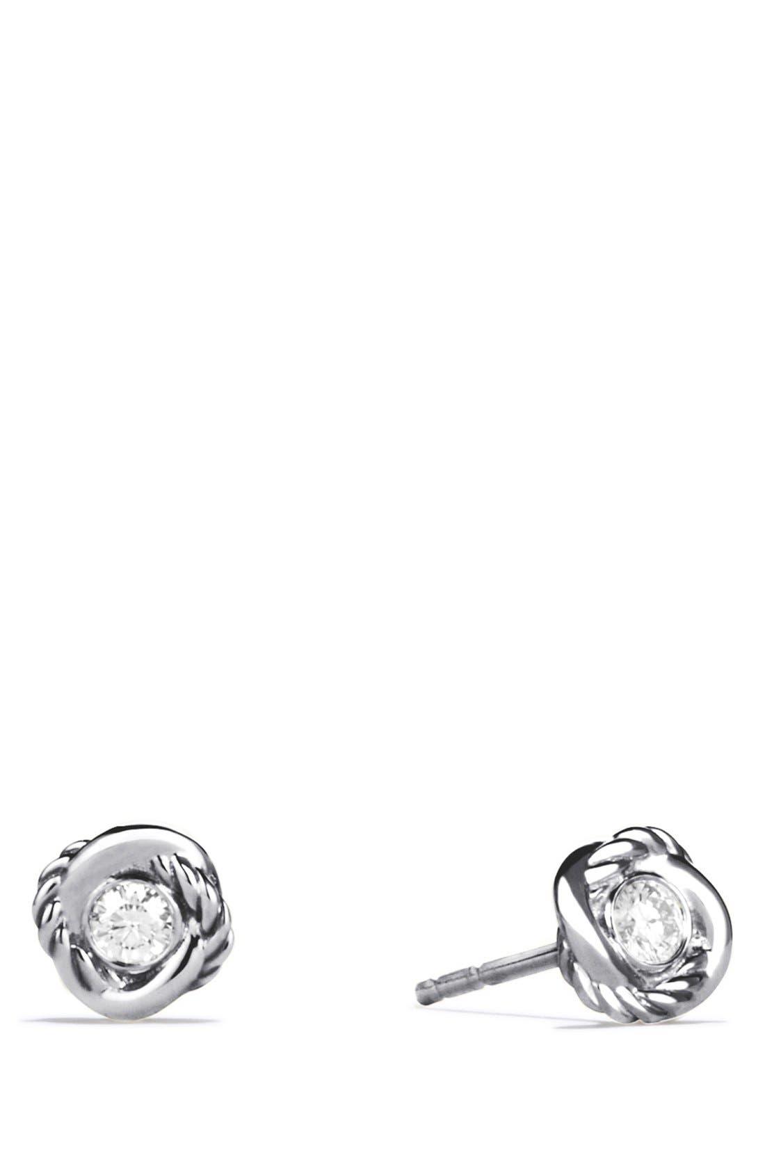 DAVID YURMAN, 'Infinity' Earrings with Diamonds, Main thumbnail 1, color, DIAMOND
