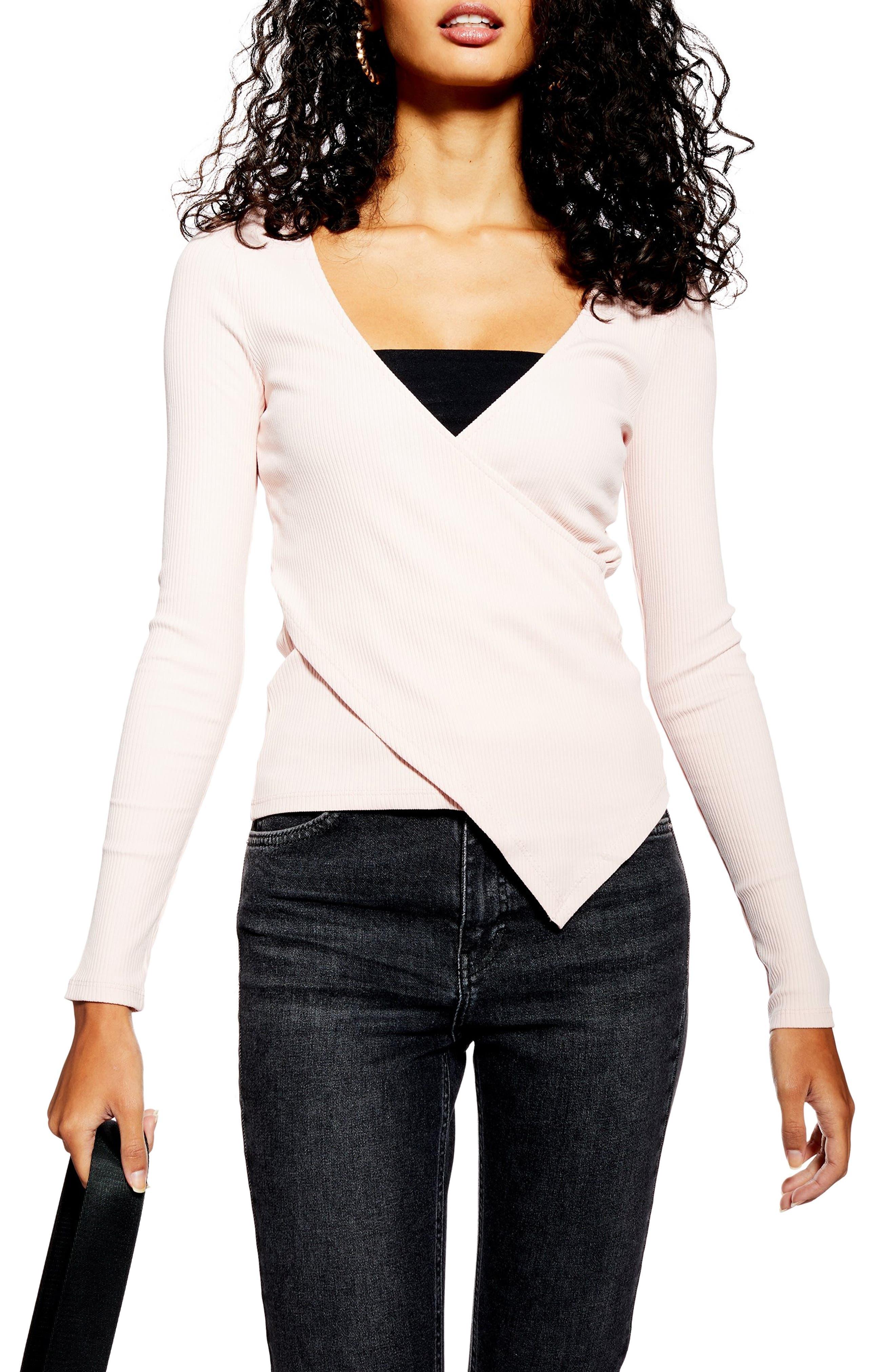 TOPSHOP Asymmetrical Rib Knit Top, Main, color, LIGHT PINK