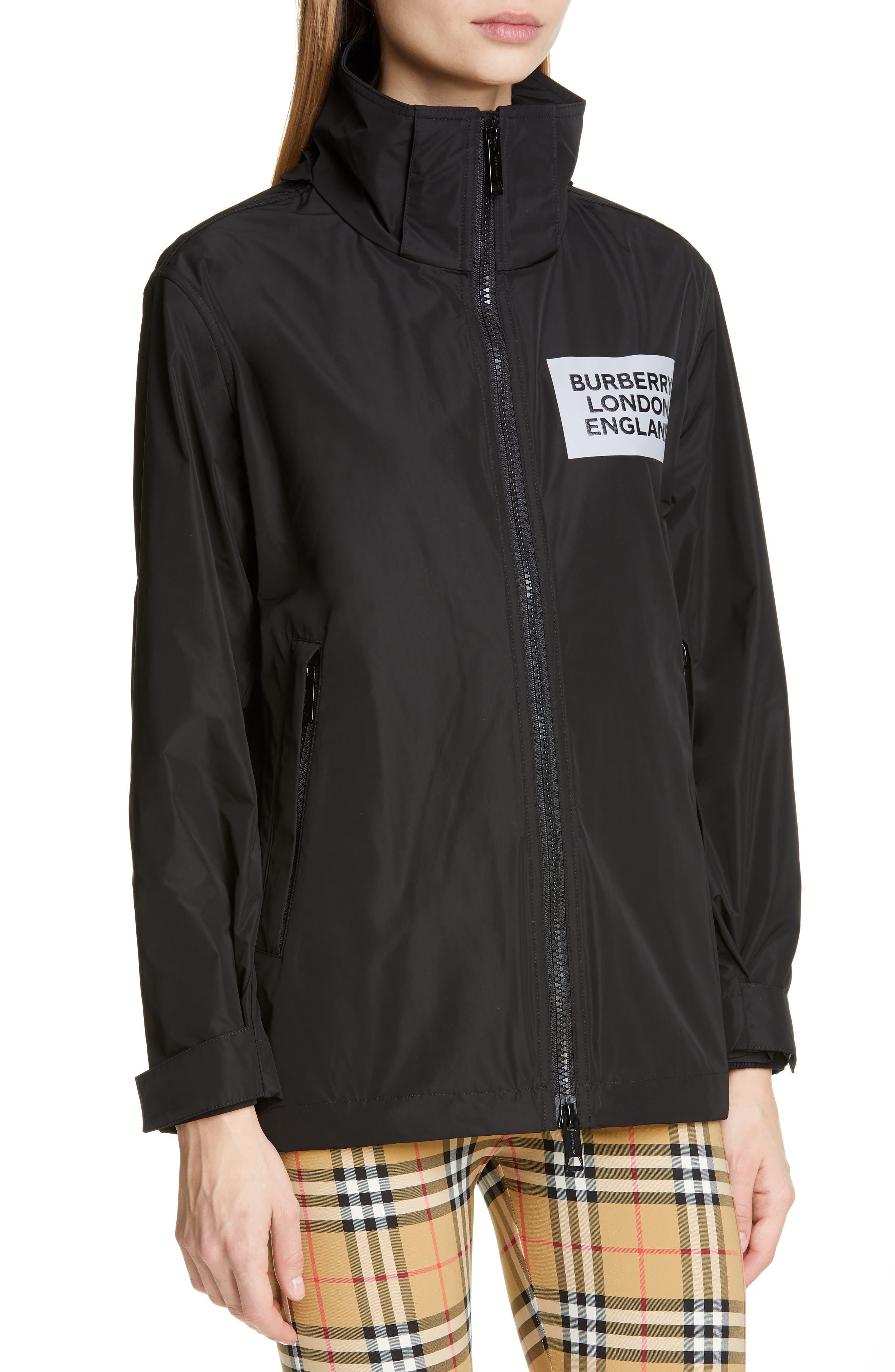 BURBERRY, Kway Millport Logo Print Waterproof Taffeta Jacket, Alternate thumbnail 2, color, BLACK