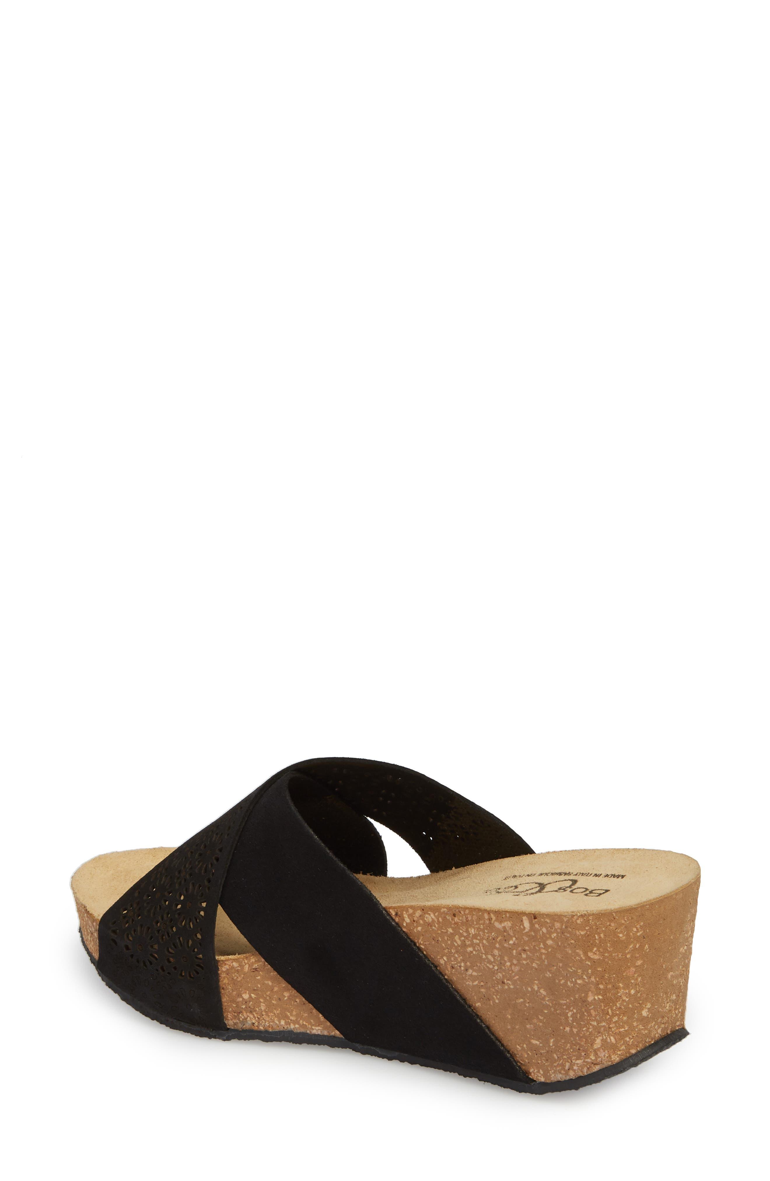 BOS. & CO., Lomi Platform Wedge Slide Sandal, Alternate thumbnail 2, color, BLACK SUEDE