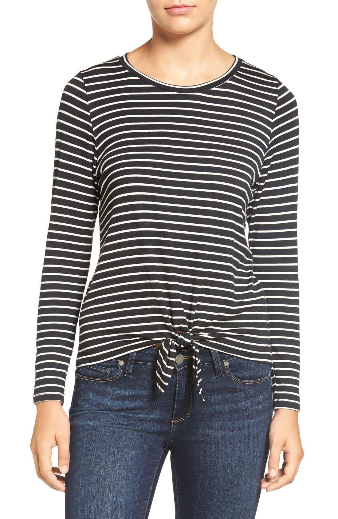 AMOUR VERT 'Melinda' Stripe Tie Hem Top, Main, color, AMSTERDAM STRIPE