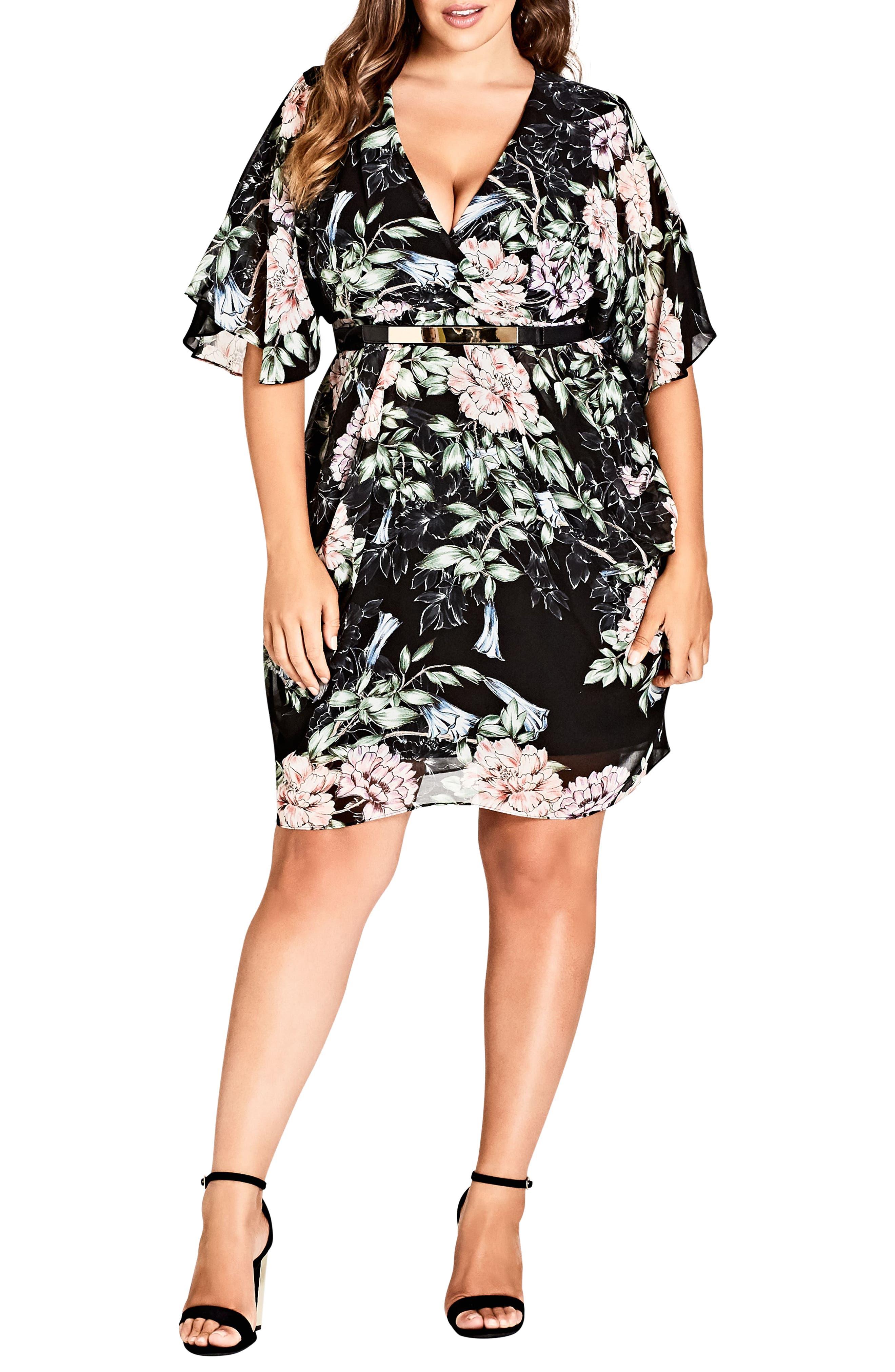 Plus Size City Chic Blossoms Faux Wrap Dress, Black