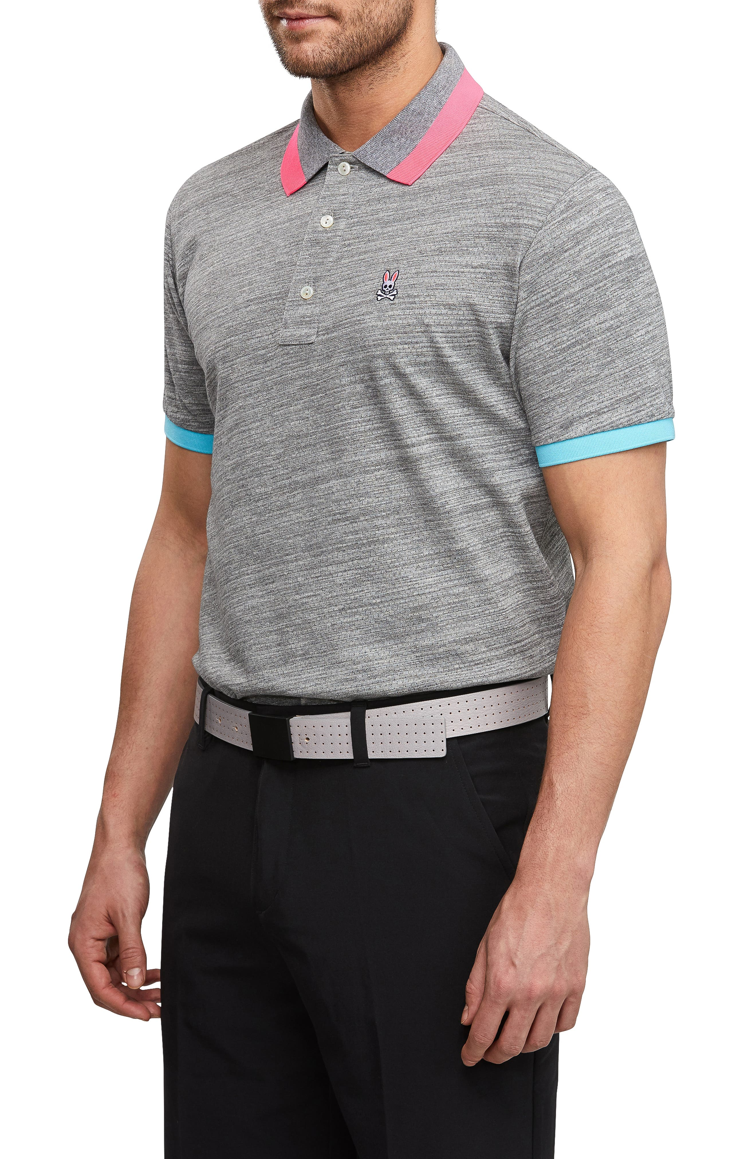 PSYCHO BUNNY, Sport Alderley Perforated Polo, Alternate thumbnail 3, color, HEATHER GREY