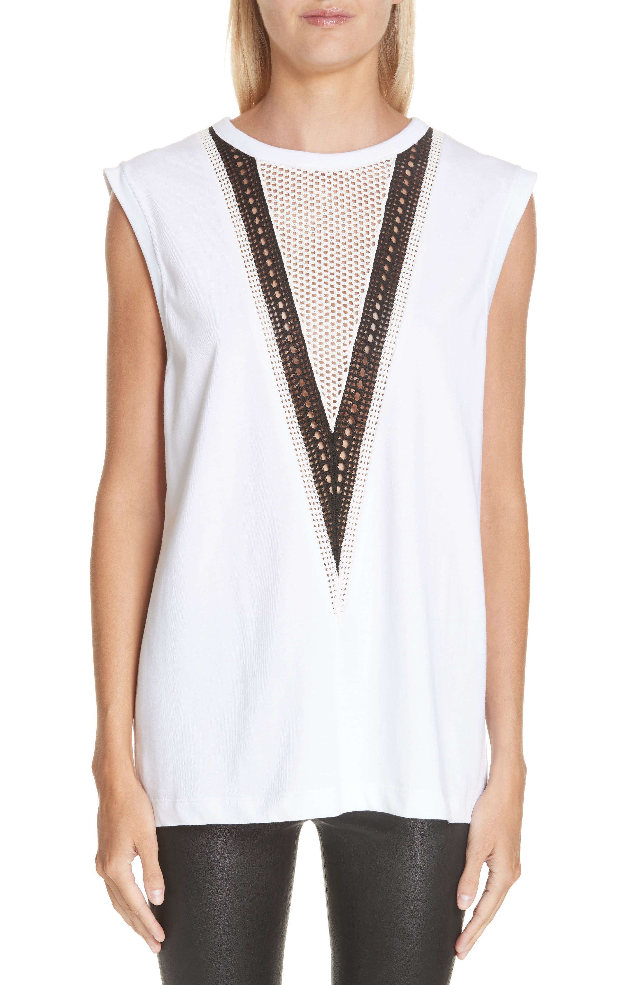 HELMUT LANG Pointelle Detail Muscle Tank, Main, color, WHITE