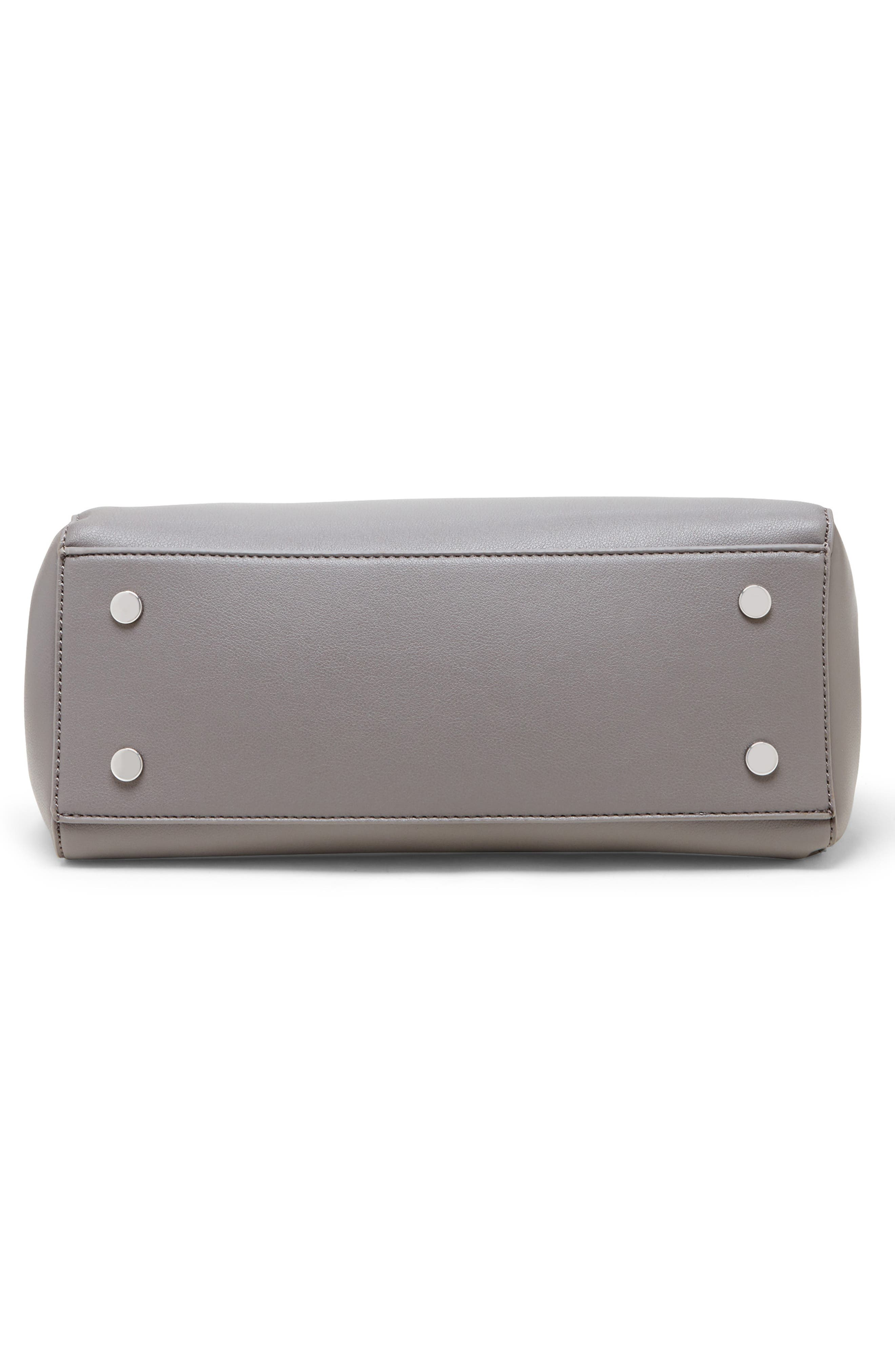 SOLE SOCIETY, Hingi Faux Leather Satchel, Alternate thumbnail 5, color, GREY