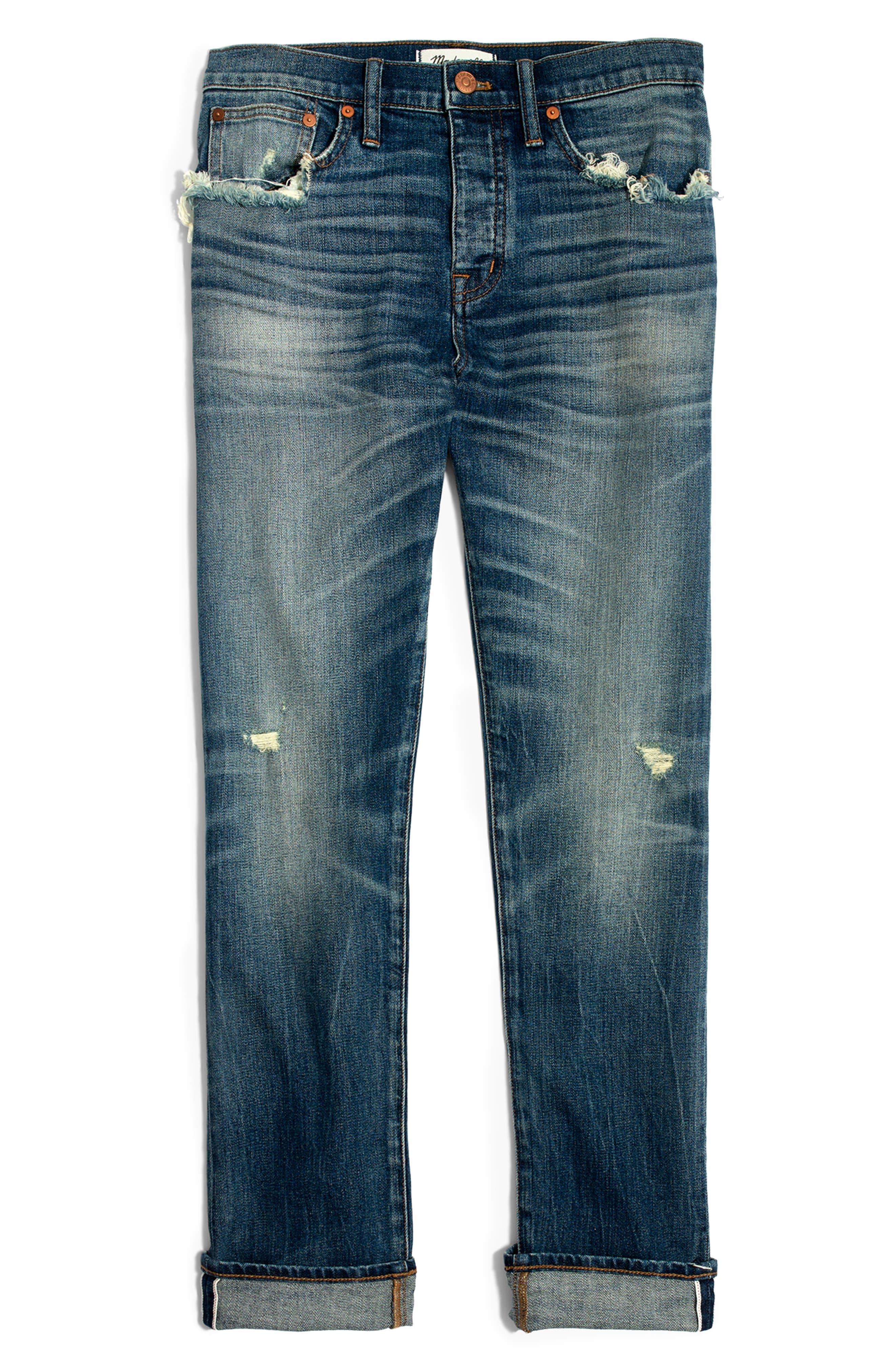 MADEWELL, Selvedge Distressed Straight Leg Jeans, Alternate thumbnail 6, color, CLOVERDALE