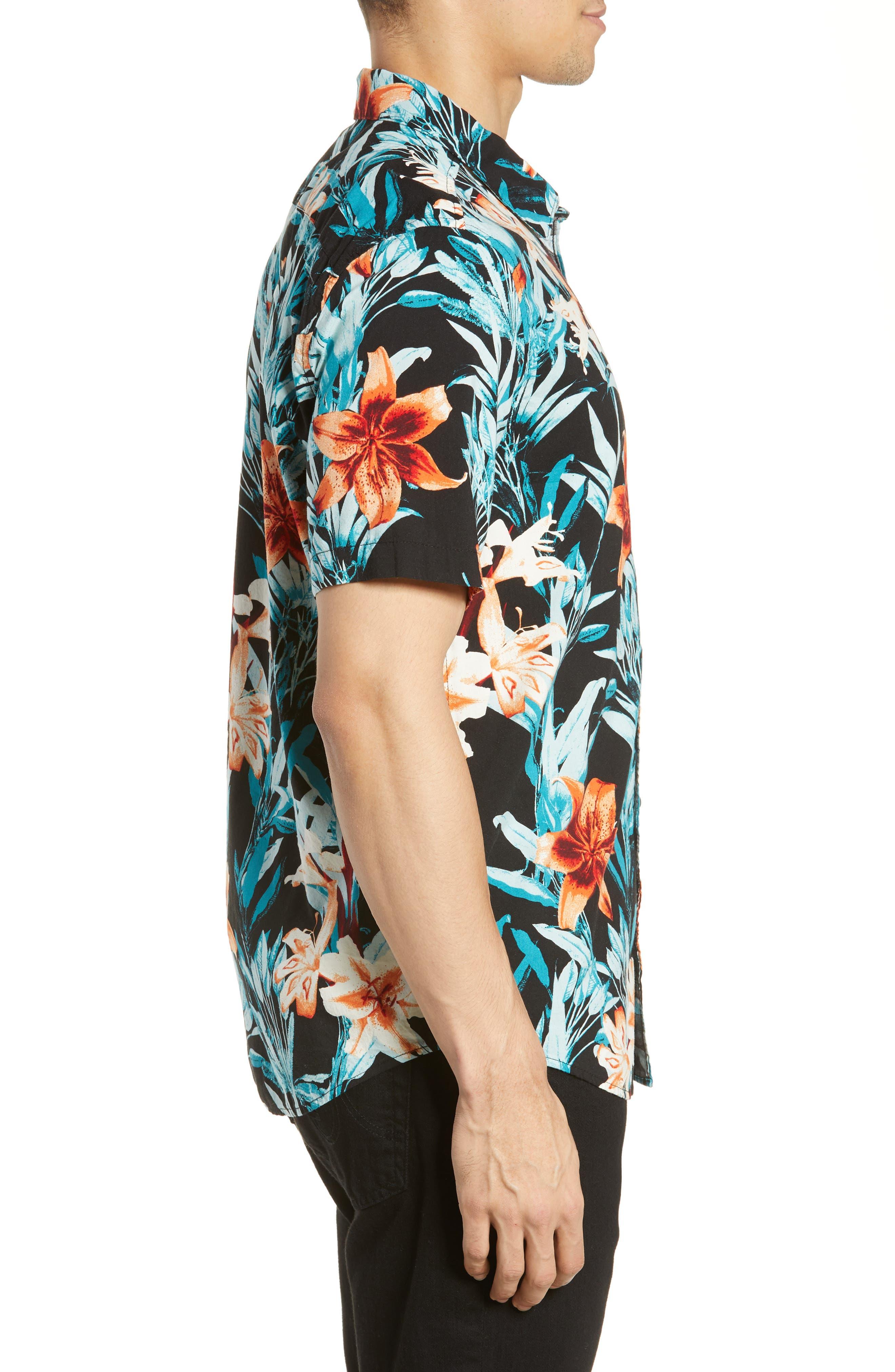 RVCA, Montague Floral Woven Shirt, Alternate thumbnail 4, color, 001