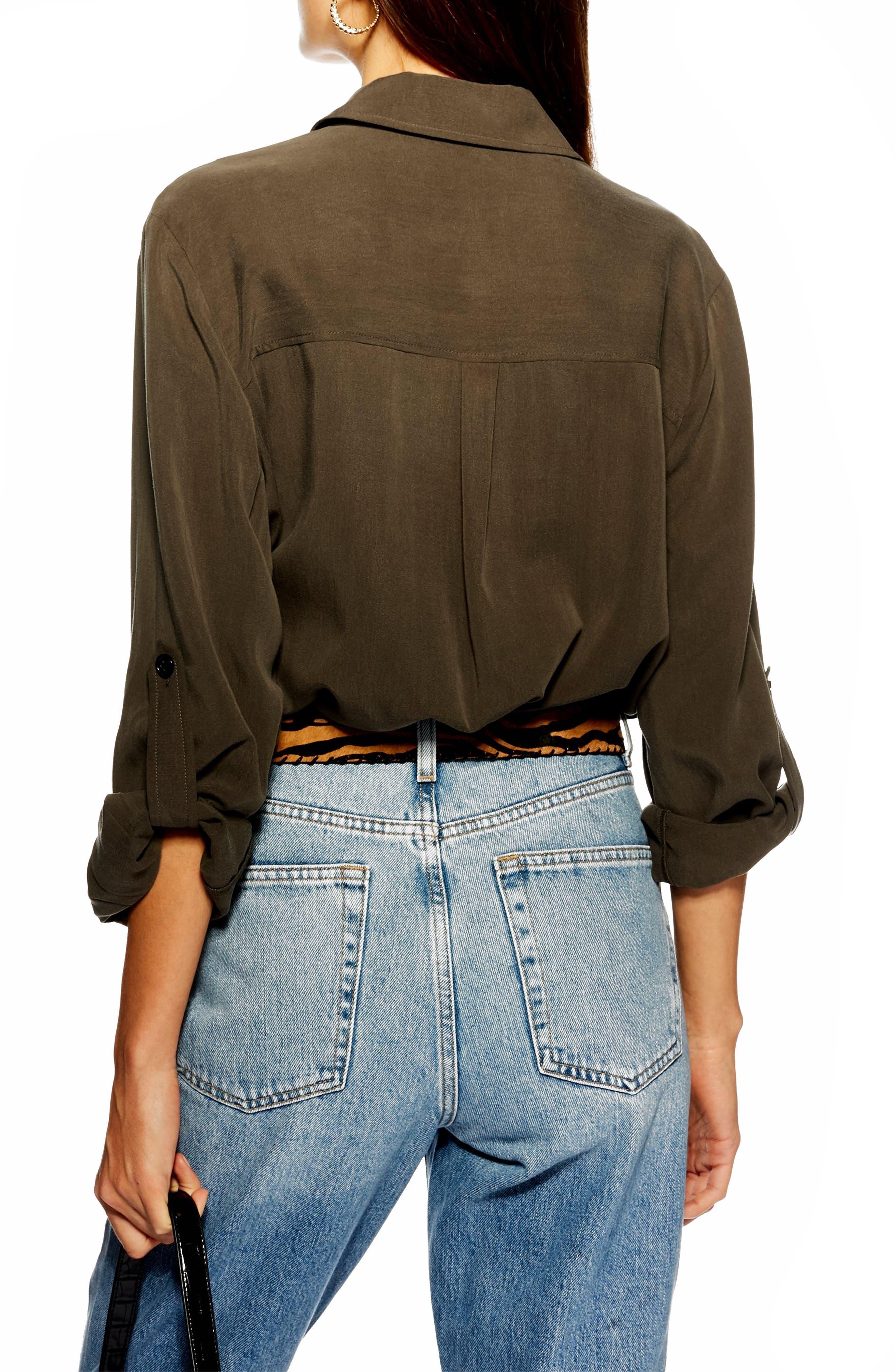 TOPSHOP, Double Pocket Utility Shirt, Alternate thumbnail 2, color, OLIVE