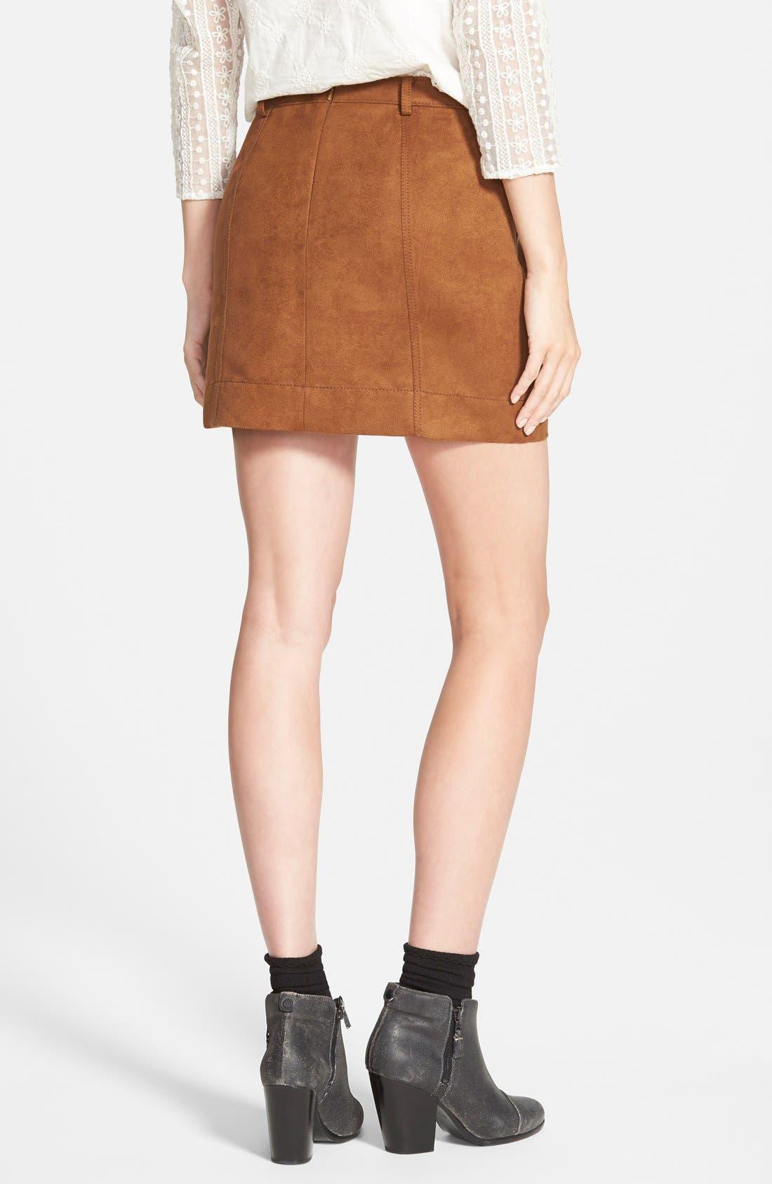 HINGE, Faux Suede A-Line Miniskirt, Alternate thumbnail 5, color, 200
