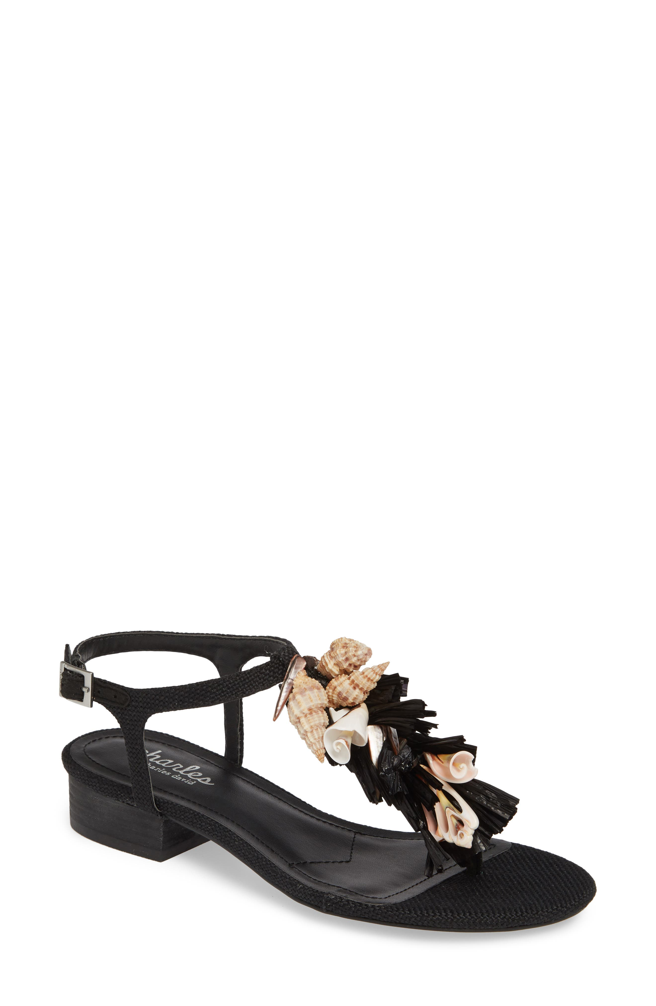 CHARLES BY CHARLES DAVID, Seashell Sandal, Main thumbnail 1, color, BLACK FABRIC