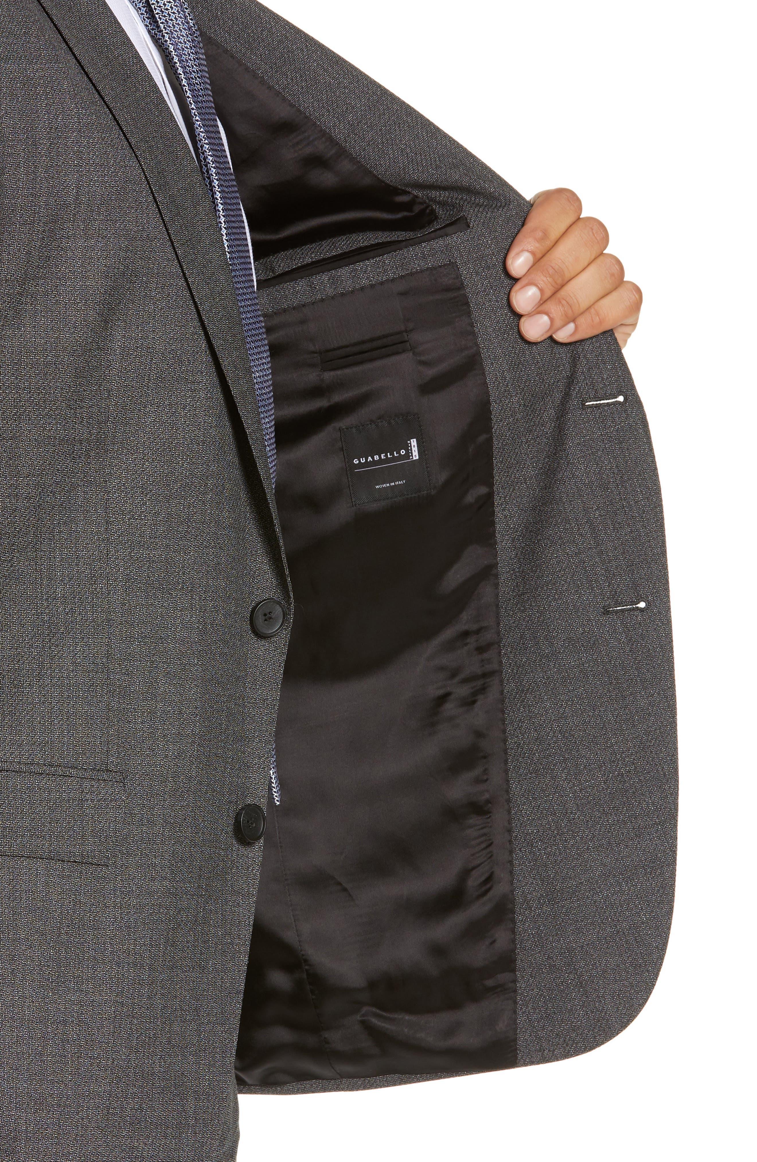BOSS, Novan/Ben Slim Fit Solid Wool Suit, Alternate thumbnail 4, color, 063