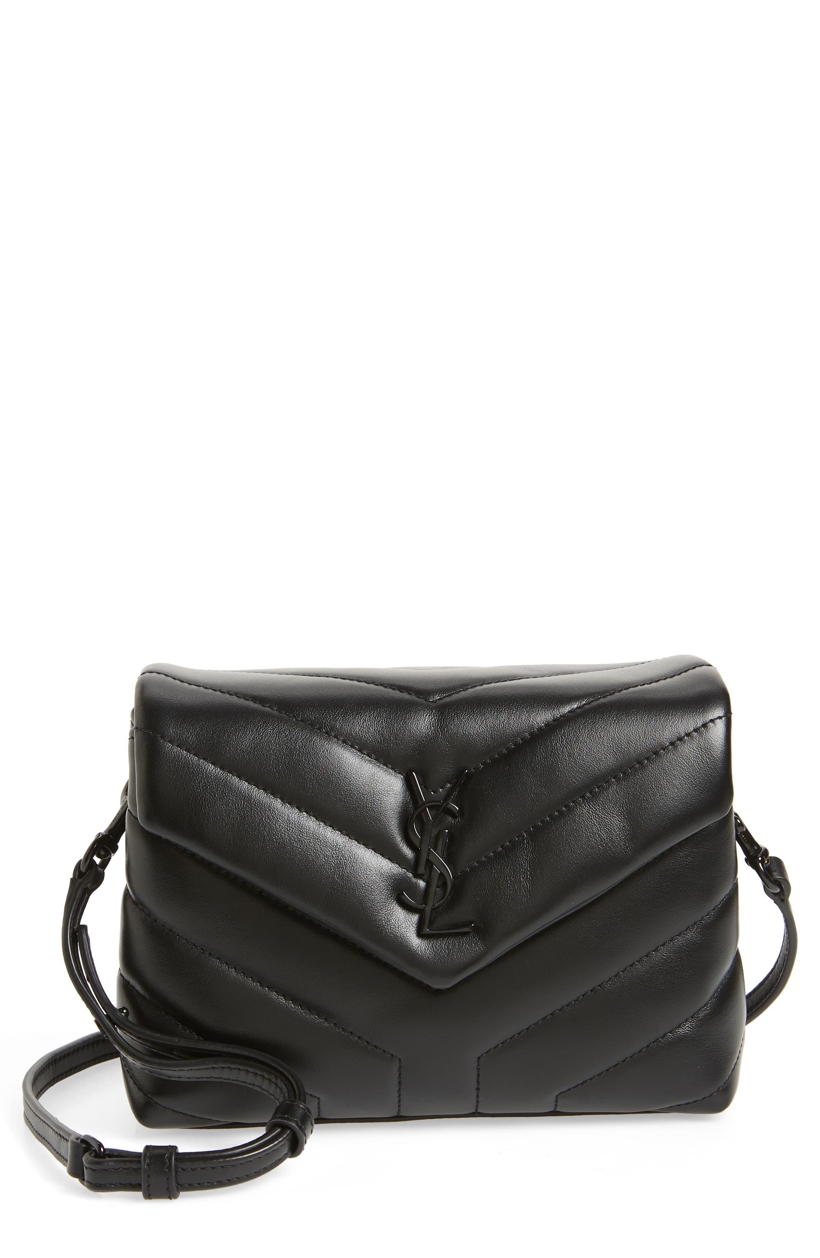SAINT LAURENT, Toy Loulou Leather Crossbody Bag, Main thumbnail 1, color, 001