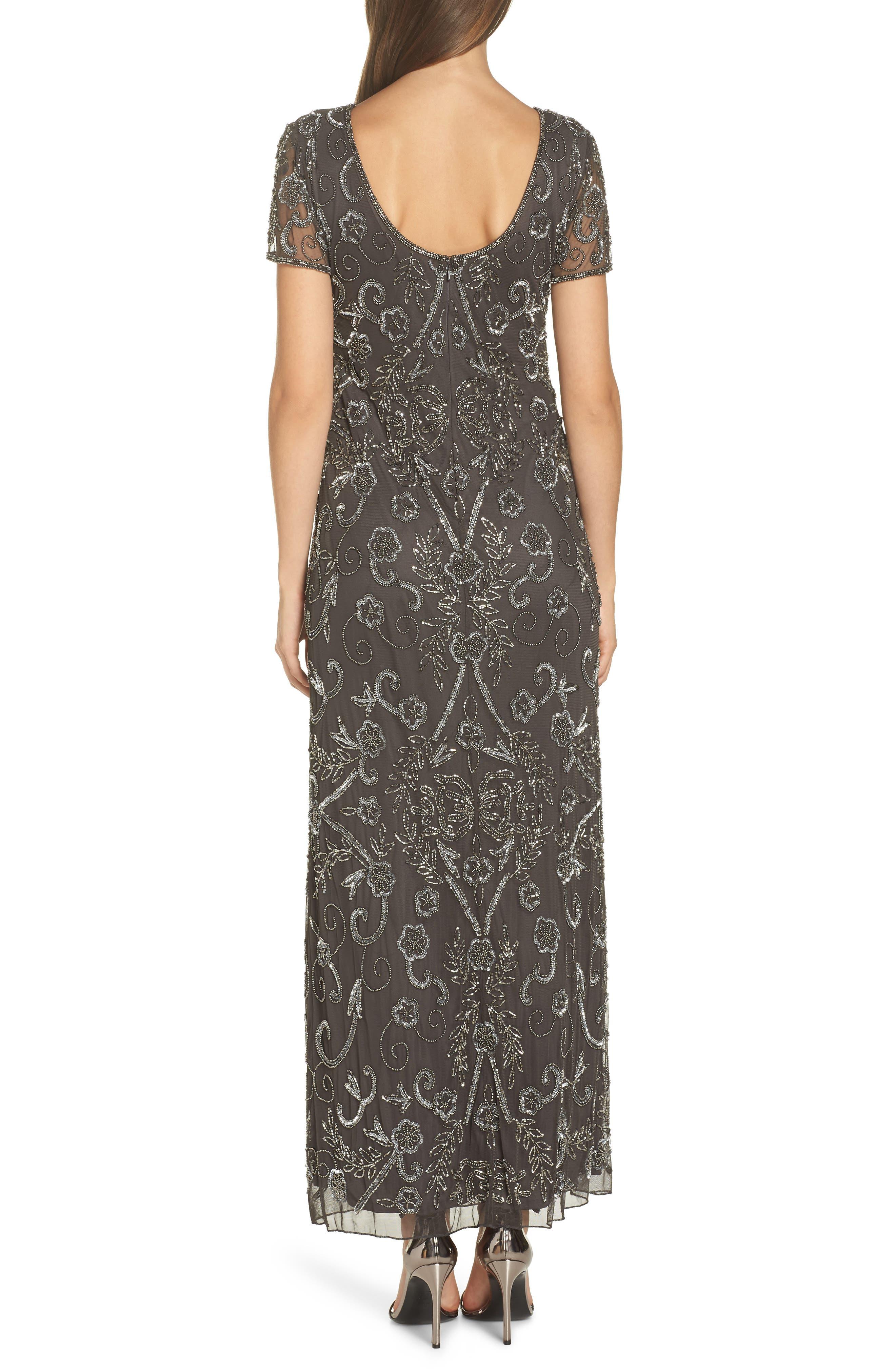 PISARRO NIGHTS, Embellished Mesh Evening Dress, Alternate thumbnail 2, color, SLIVER / GREY