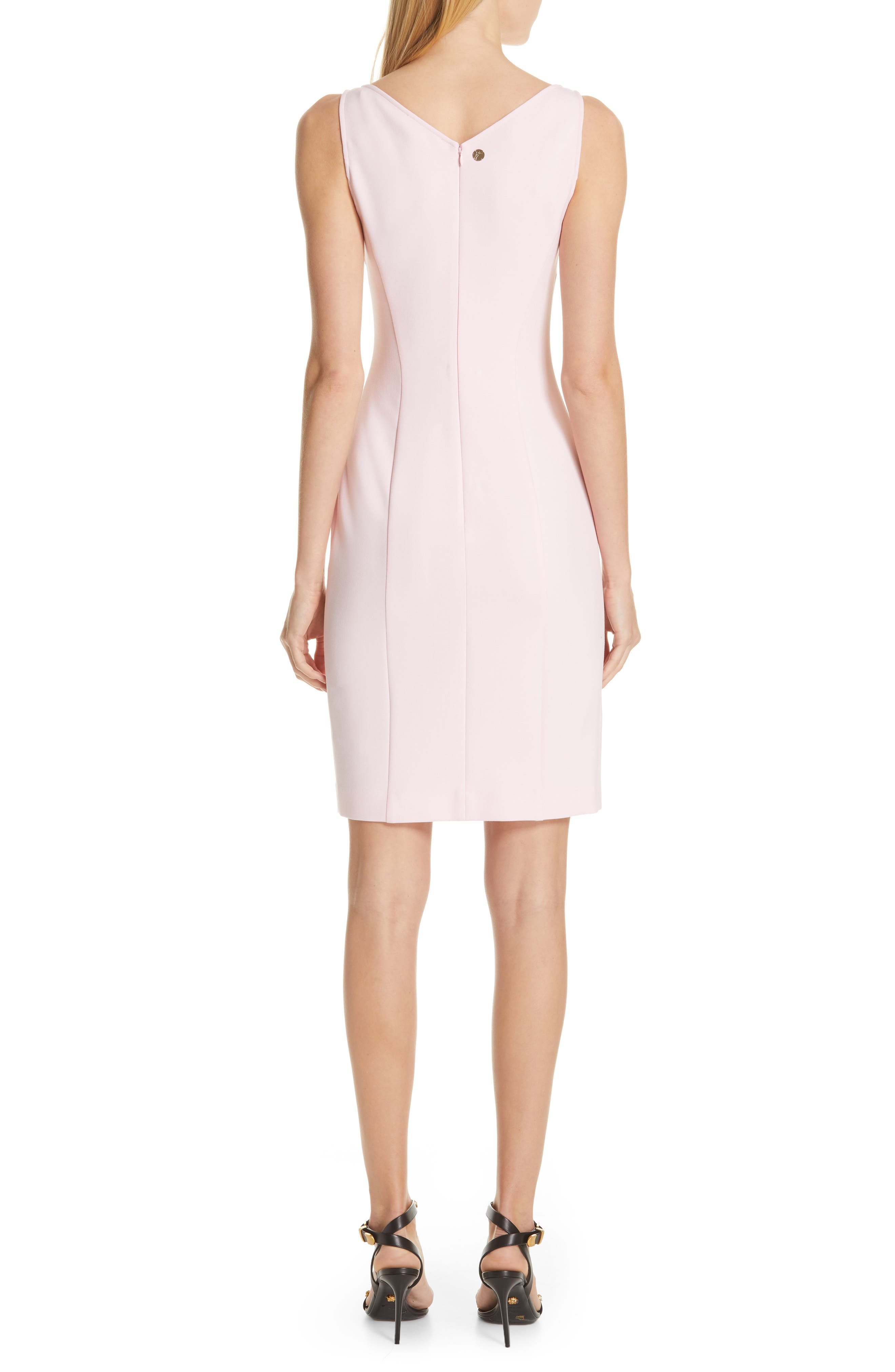 VERSACE COLLECTION, Stretch Cady Sheath Dress, Alternate thumbnail 2, color, PASTEL ROSE