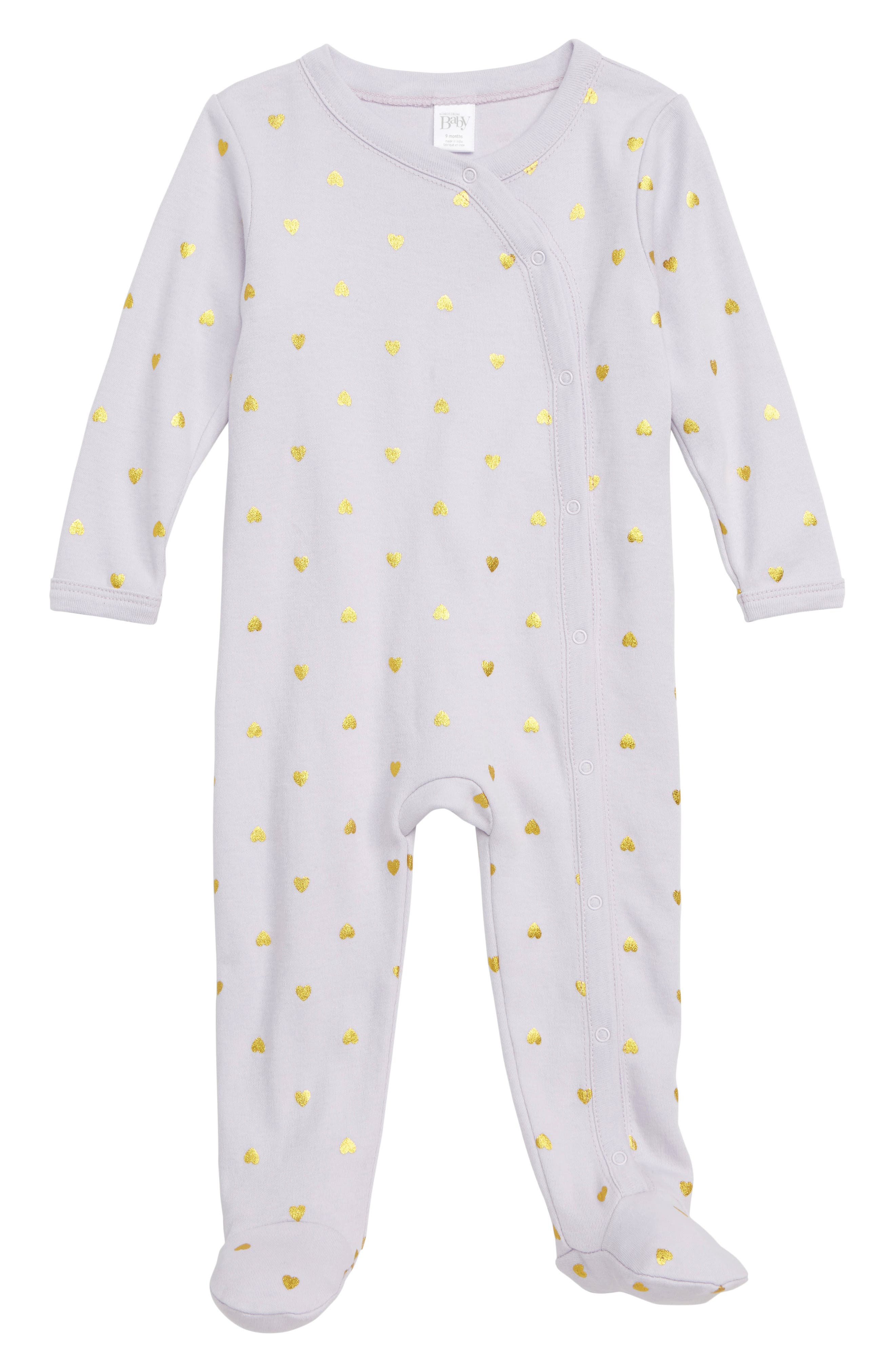 NORDSTROM BABY, Print Footie, Main thumbnail 1, color, PURPLE THISTLE HEARTS