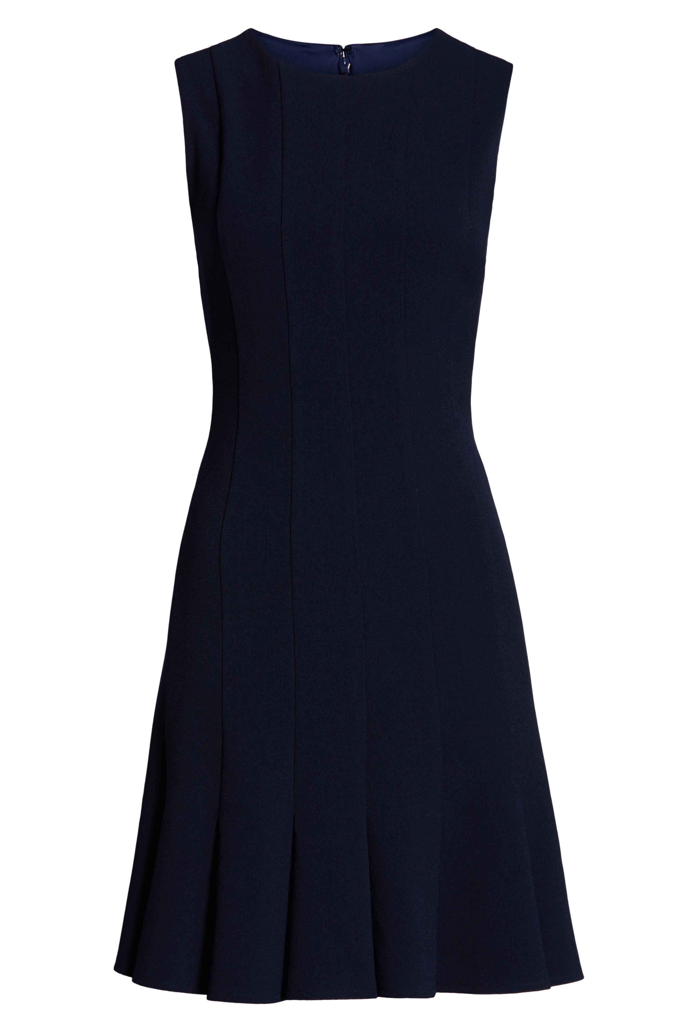 JULIA JORDAN, Sleeveless Pleat Panel Fit & Flare Dress, Alternate thumbnail 7, color, NAVY