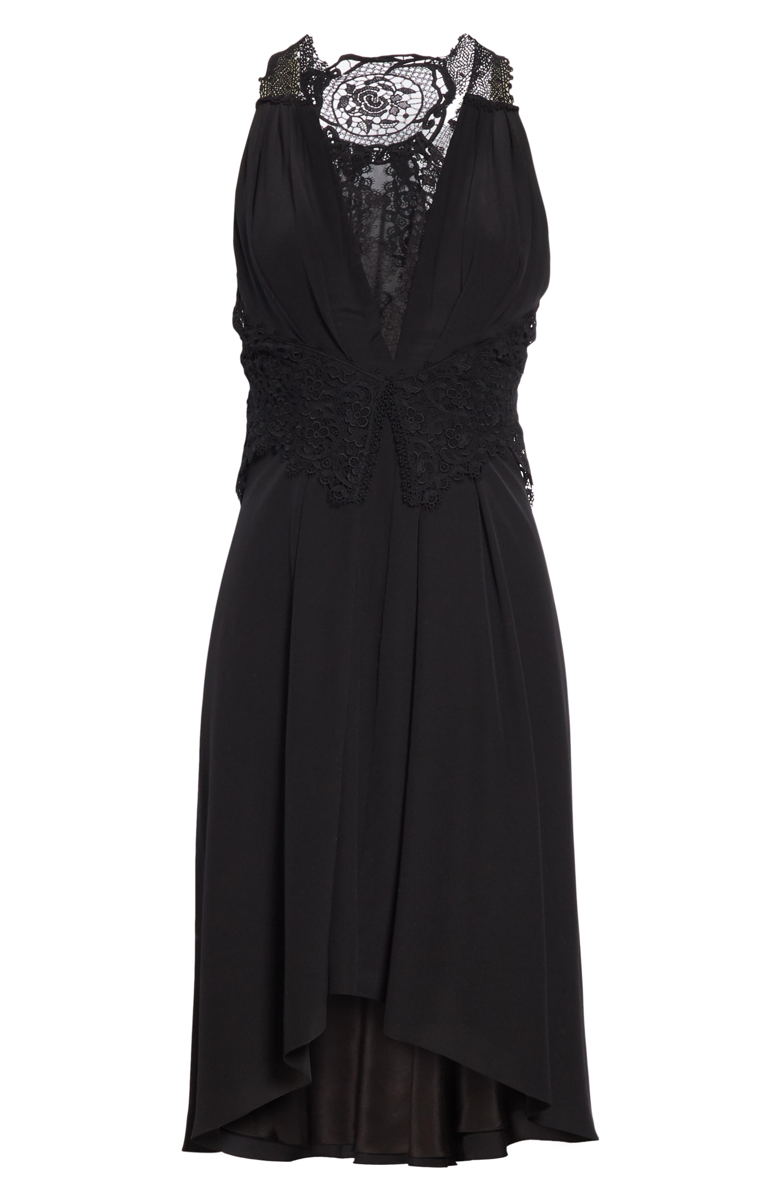 VICTORIA BECKHAM, Mixed Lace Trim High/Low Silk Dress, Alternate thumbnail 8, color, BLACK