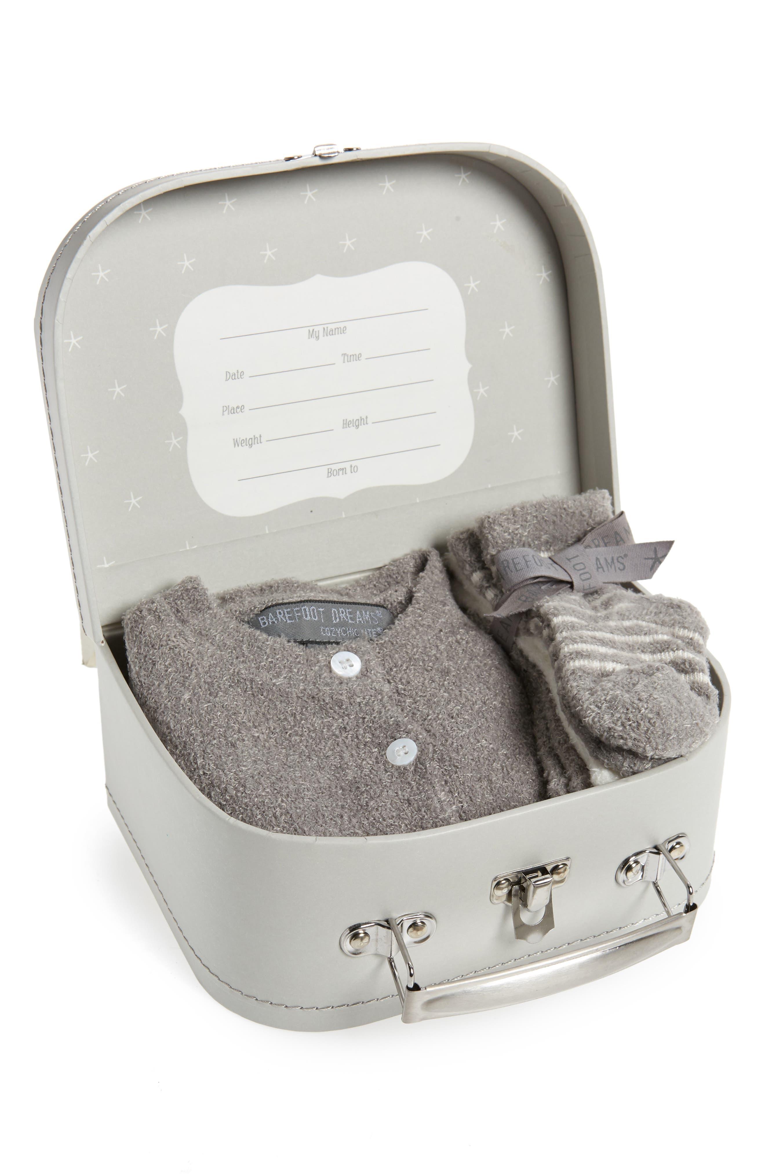 BAREFOOT DREAMS<SUP>®</SUP>, CozyChic<sup>®</sup> Lite Classic Cardigan, Pants, Socks, Beanie & Suitcase Set, Alternate thumbnail 2, color, PEWTER