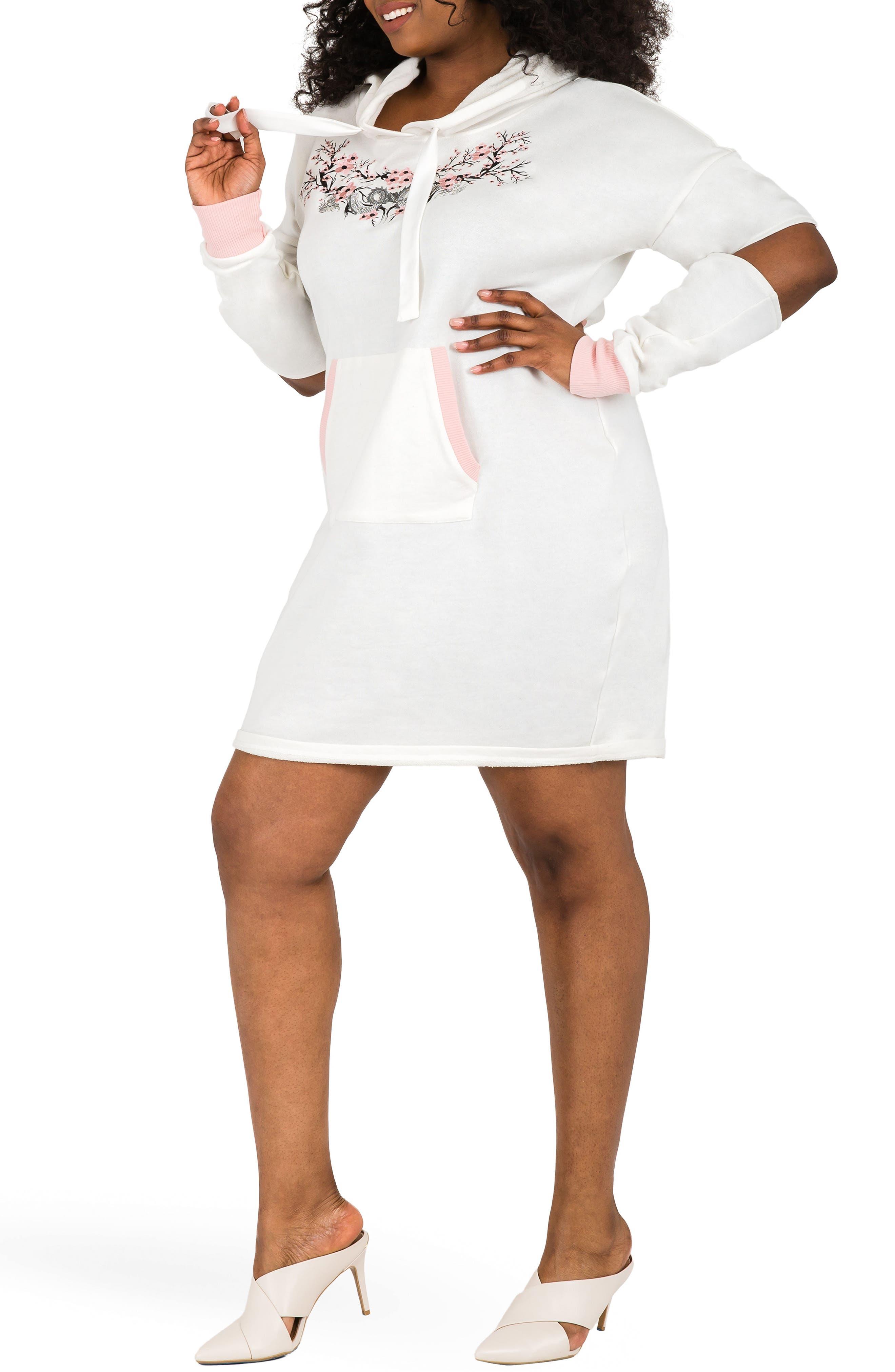 POETIC JUSTICE, Cylene Hoodie Dress, Alternate thumbnail 3, color, QUARTZ WHITE