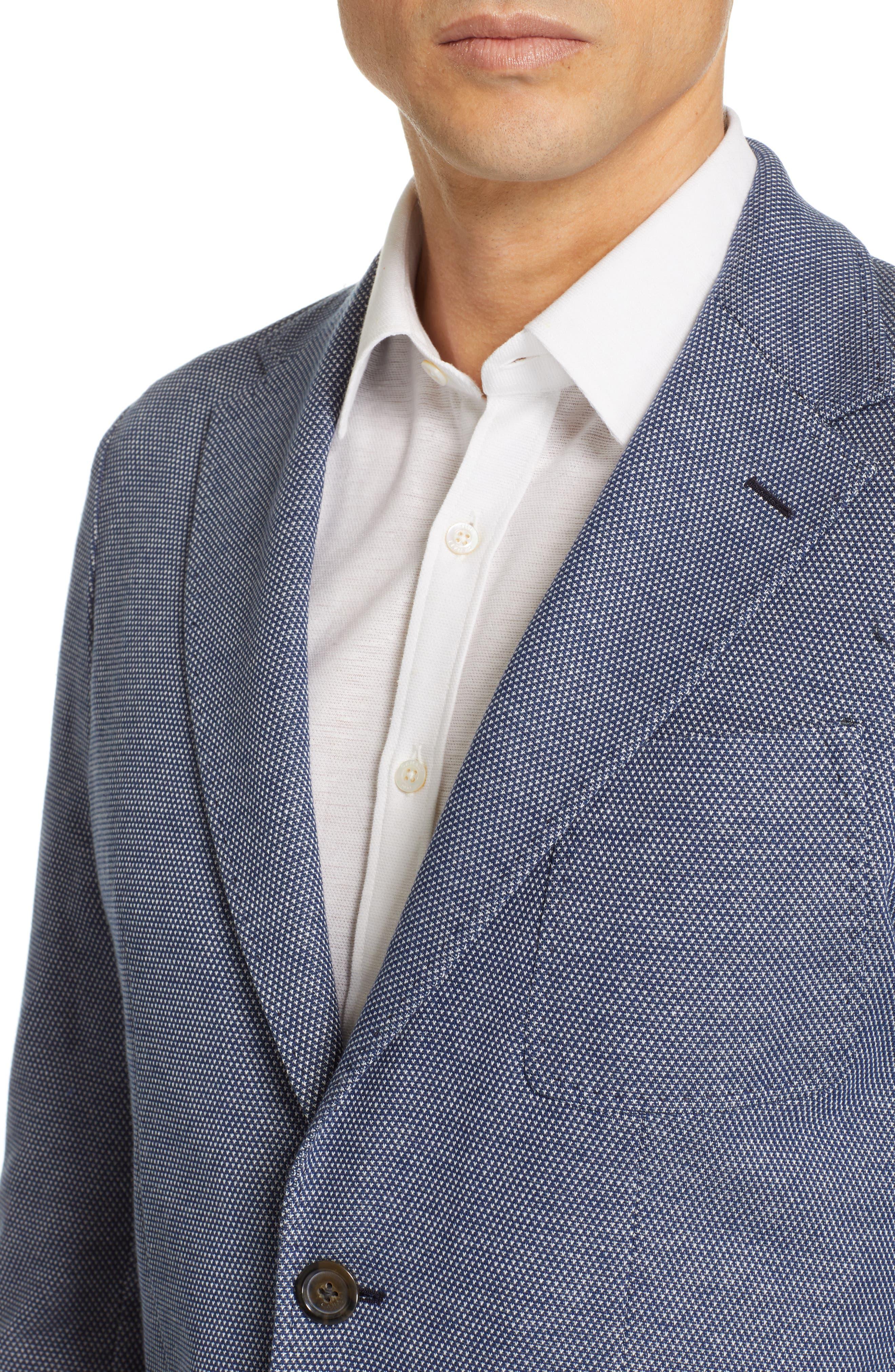 CANALI, Classic Fit Cotton Blend Sport Coat, Alternate thumbnail 4, color, NAVY