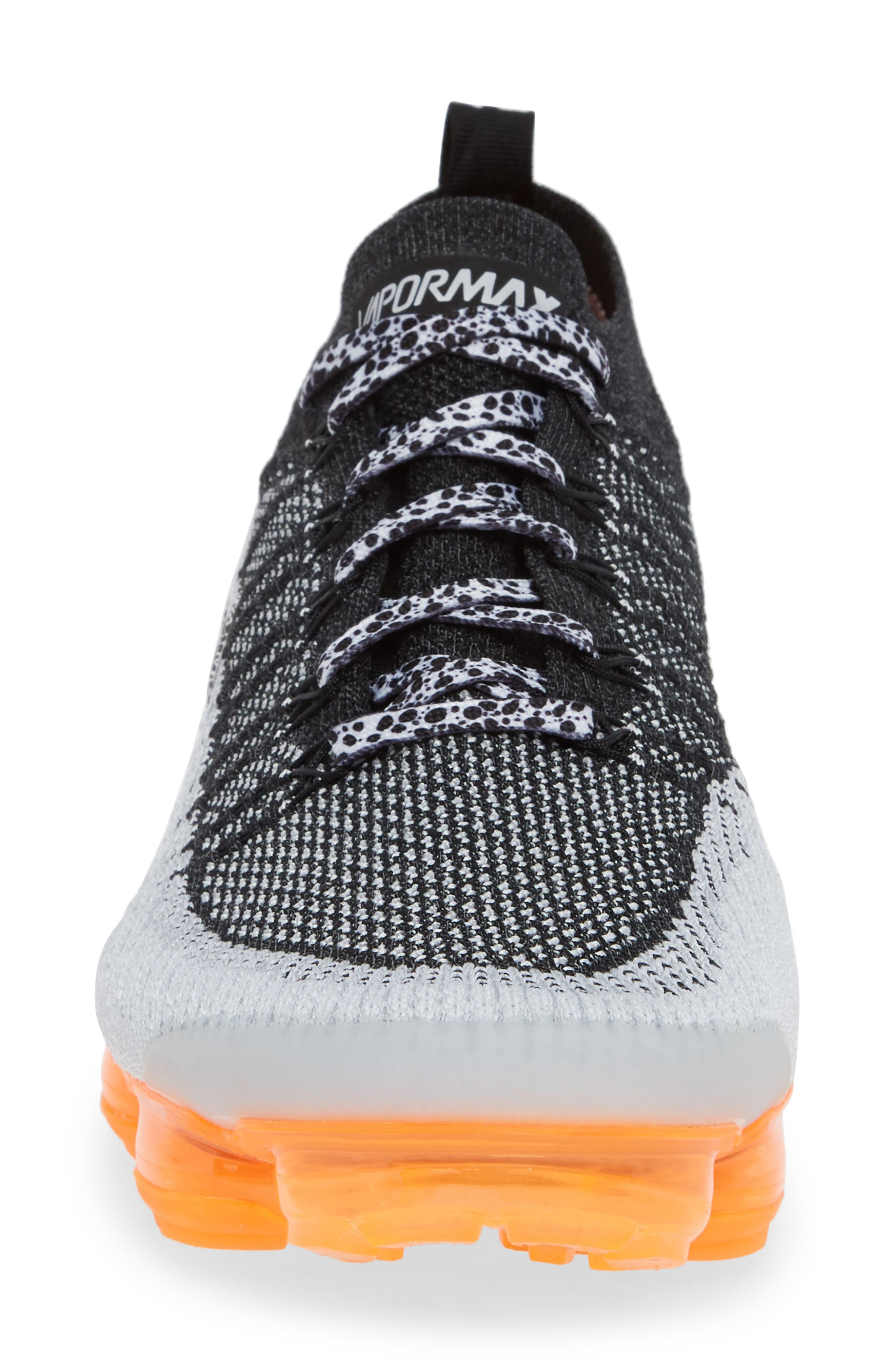 NIKE, Air VaporMax Flyknit 2 Running Shoe, Alternate thumbnail 4, color, WHITE/ BLACK/ TOTAL ORANGE