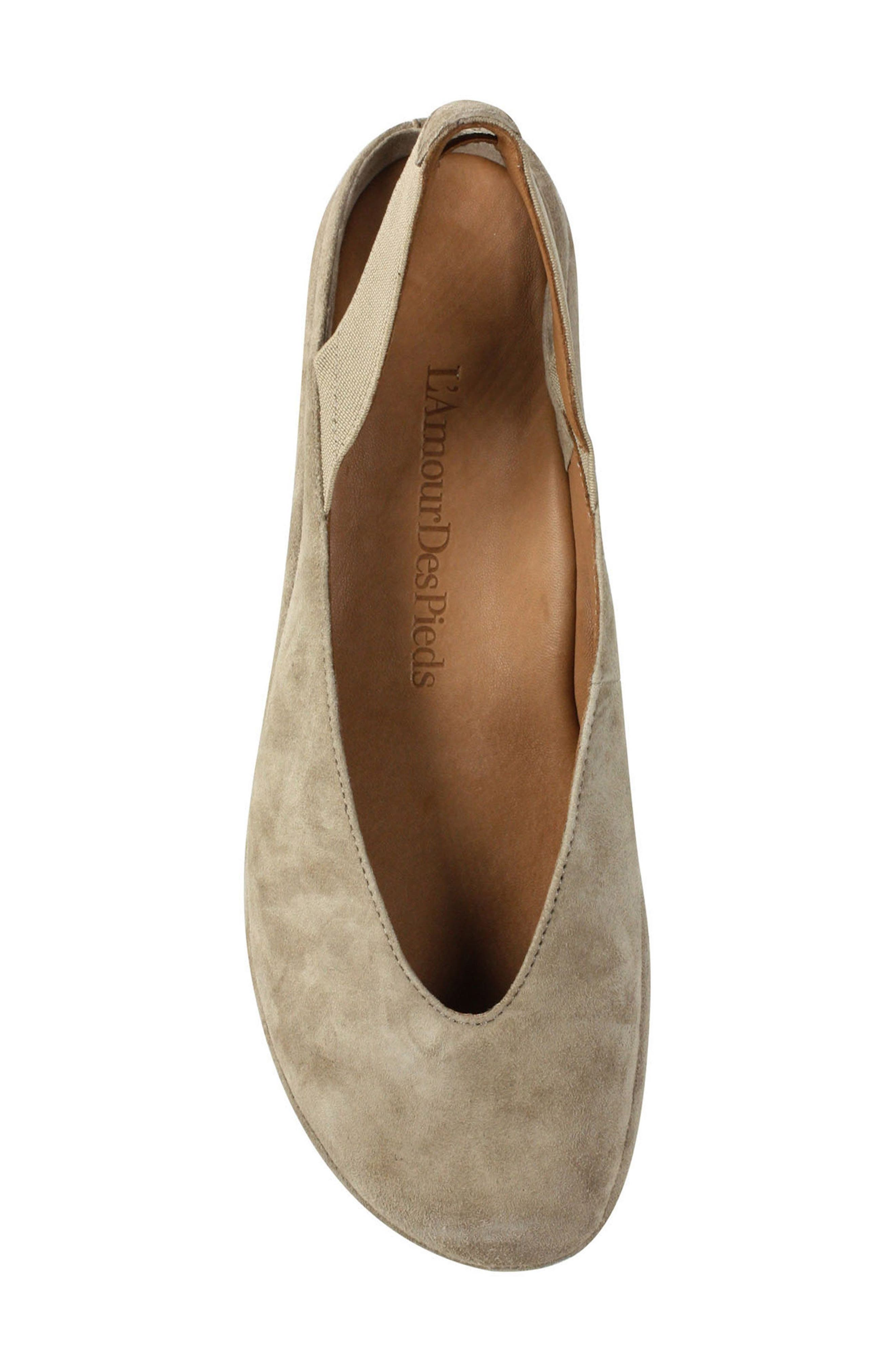 L'AMOUR DES PIEDS, 'Cypris' Slingback Wedge, Alternate thumbnail 3, color, TAUPE SUEDE