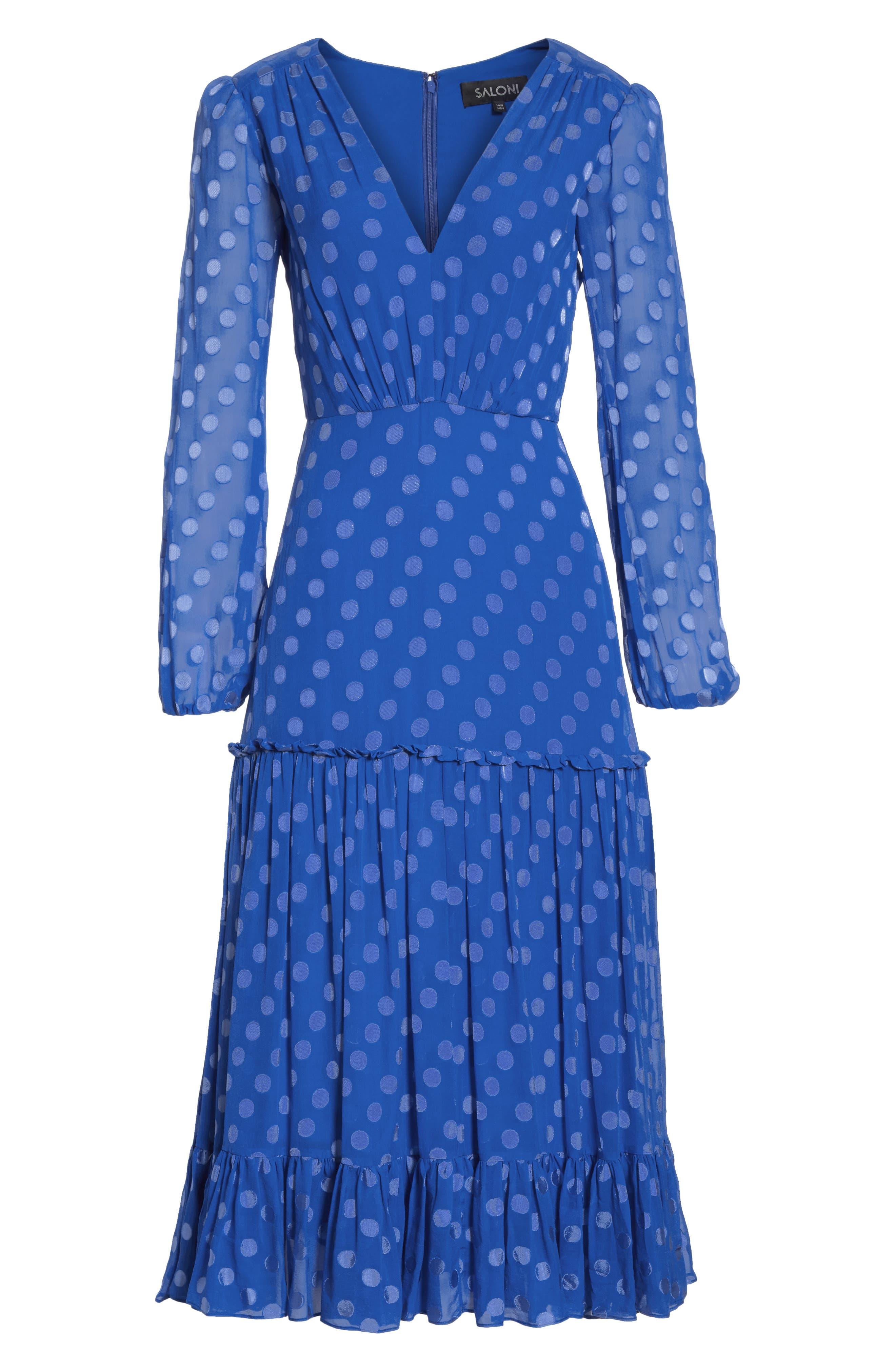 SALONI, Polka Dot Ruffle Dress, Alternate thumbnail 7, color, COBALT BLUE