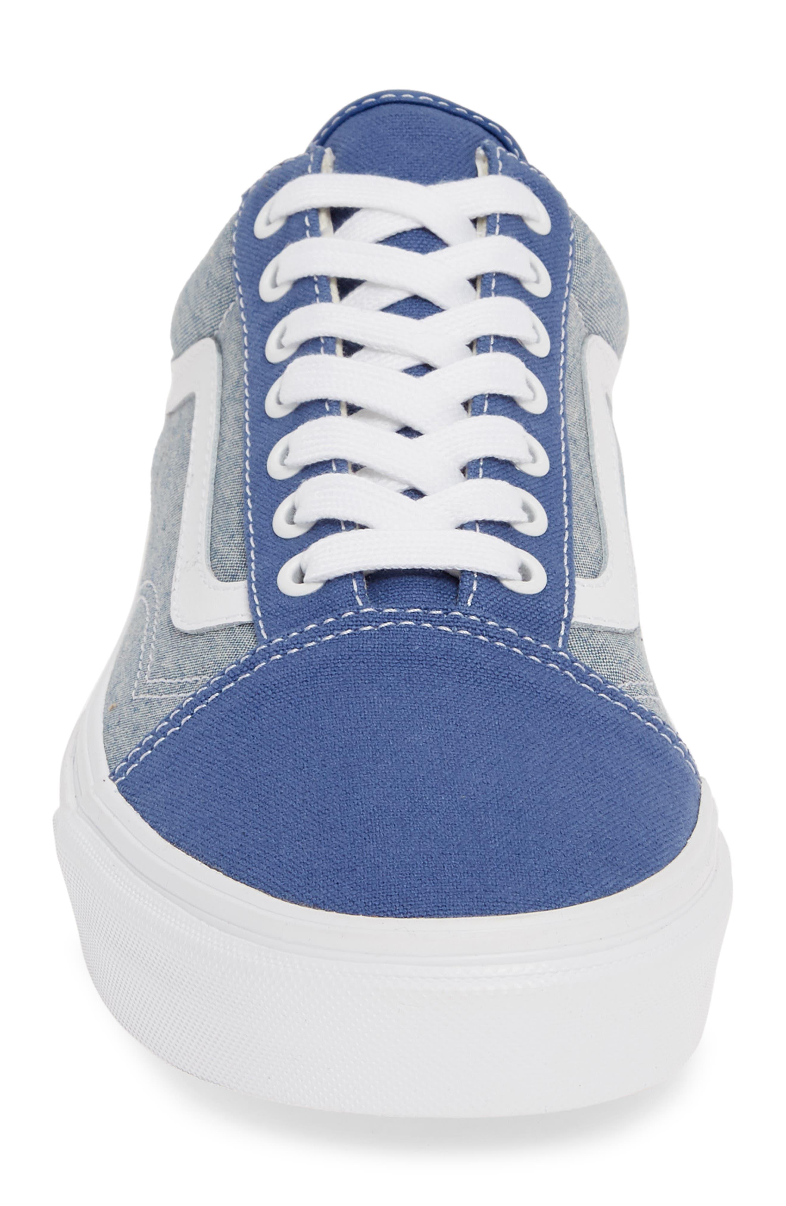 VANS, Old Skool Sneaker, Alternate thumbnail 4, color, CANVAS NAVY/ WHITE CHAMBRAY