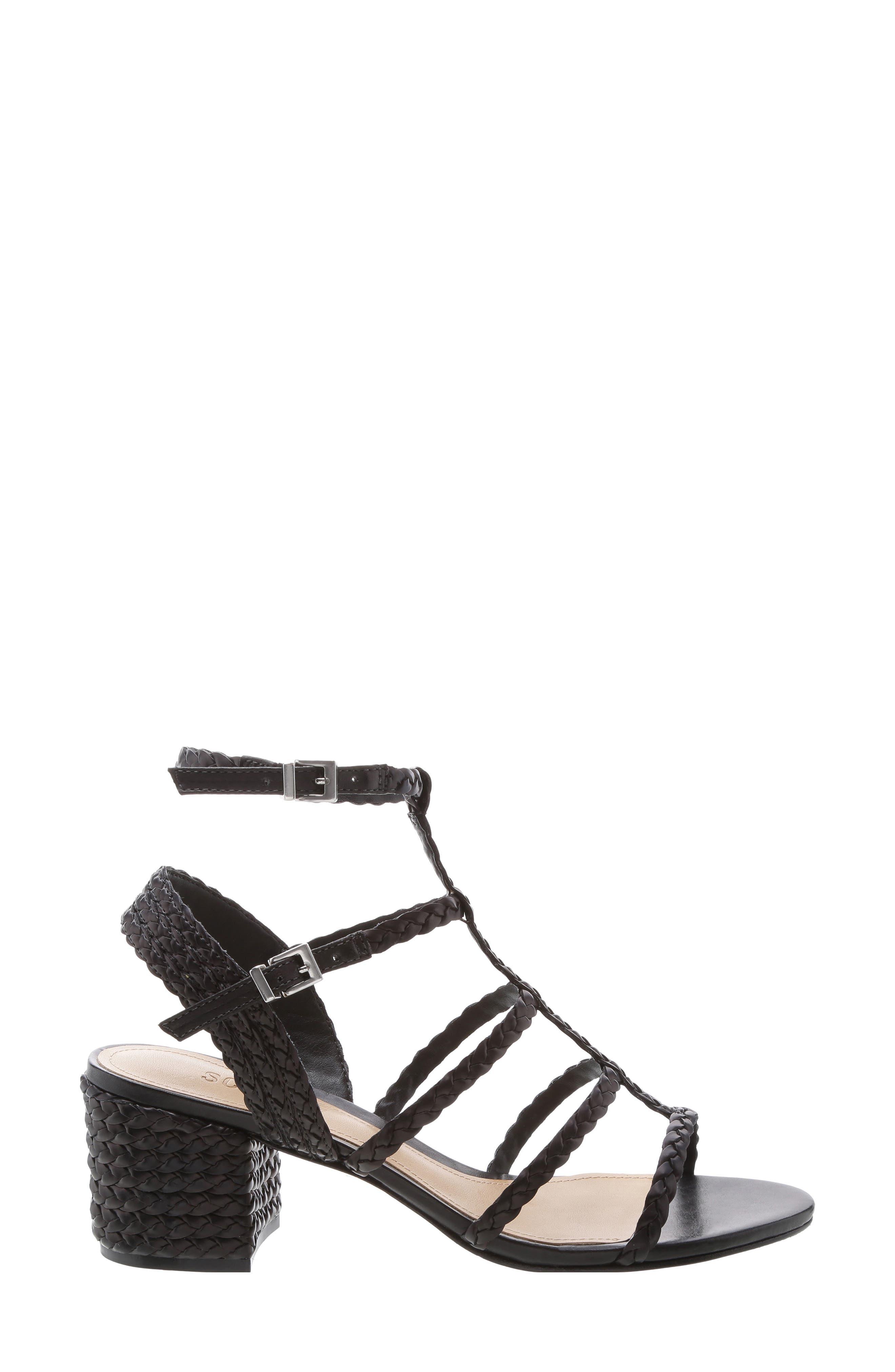 SCHUTZ, Rosalia Block Heel Sandal, Alternate thumbnail 3, color, BLACK LEATHER