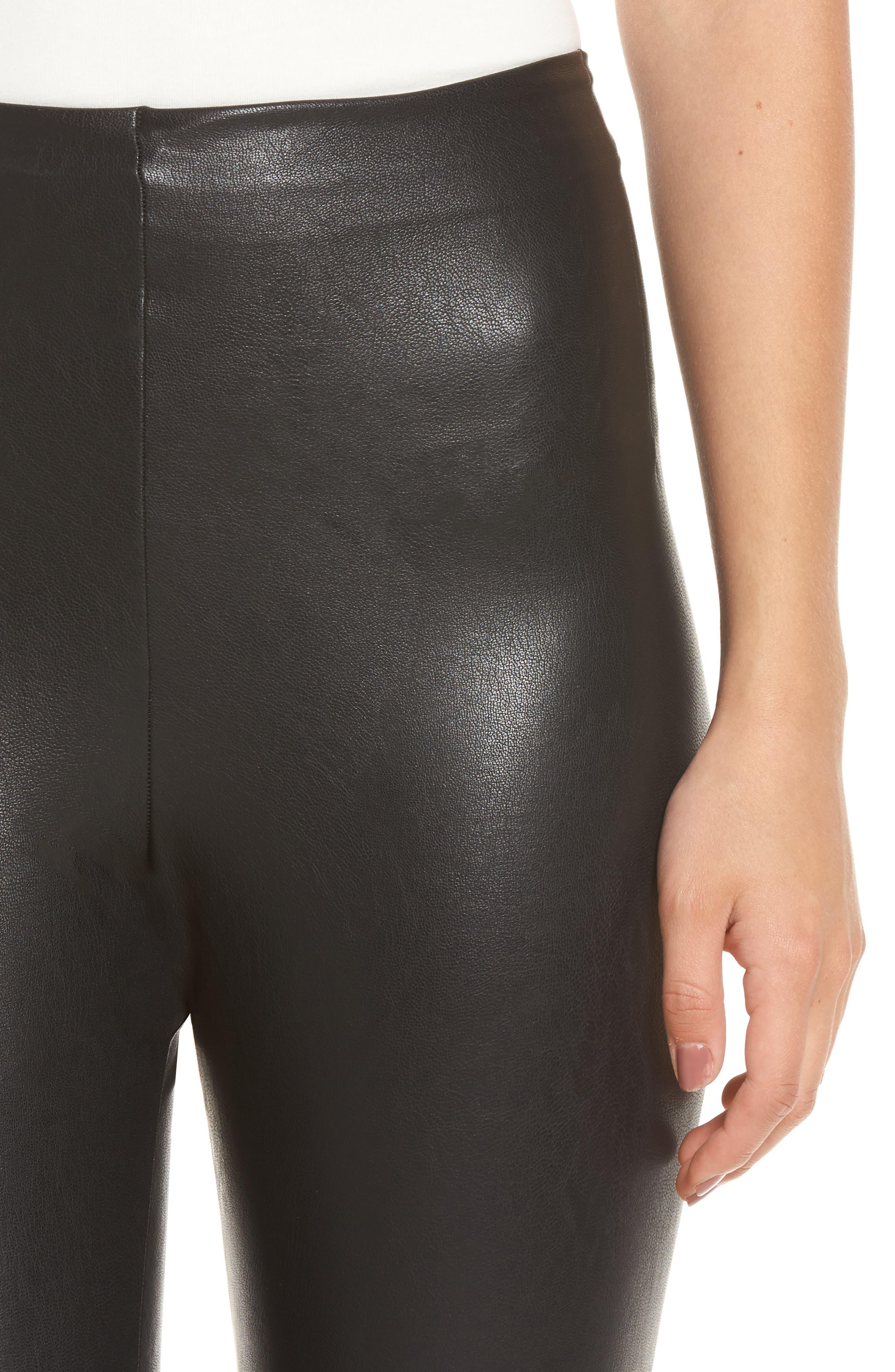 COMMANDO, Perfect Control Faux Leather Leggings, Alternate thumbnail 5, color, BLACK