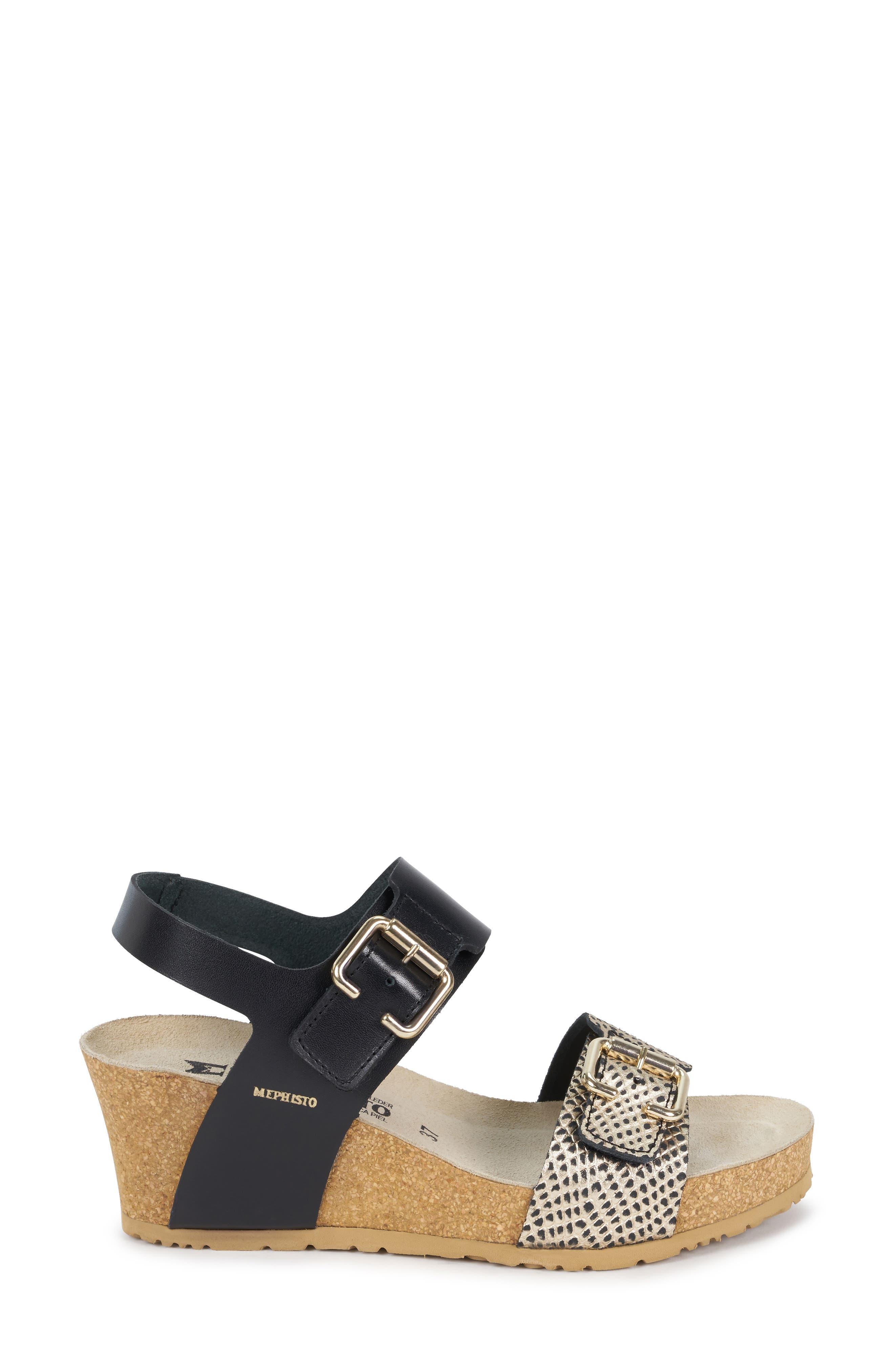 MEPHISTO, Lissandra Platform Wedge Sandal, Alternate thumbnail 3, color, BLACK/ GOLD LEATHER