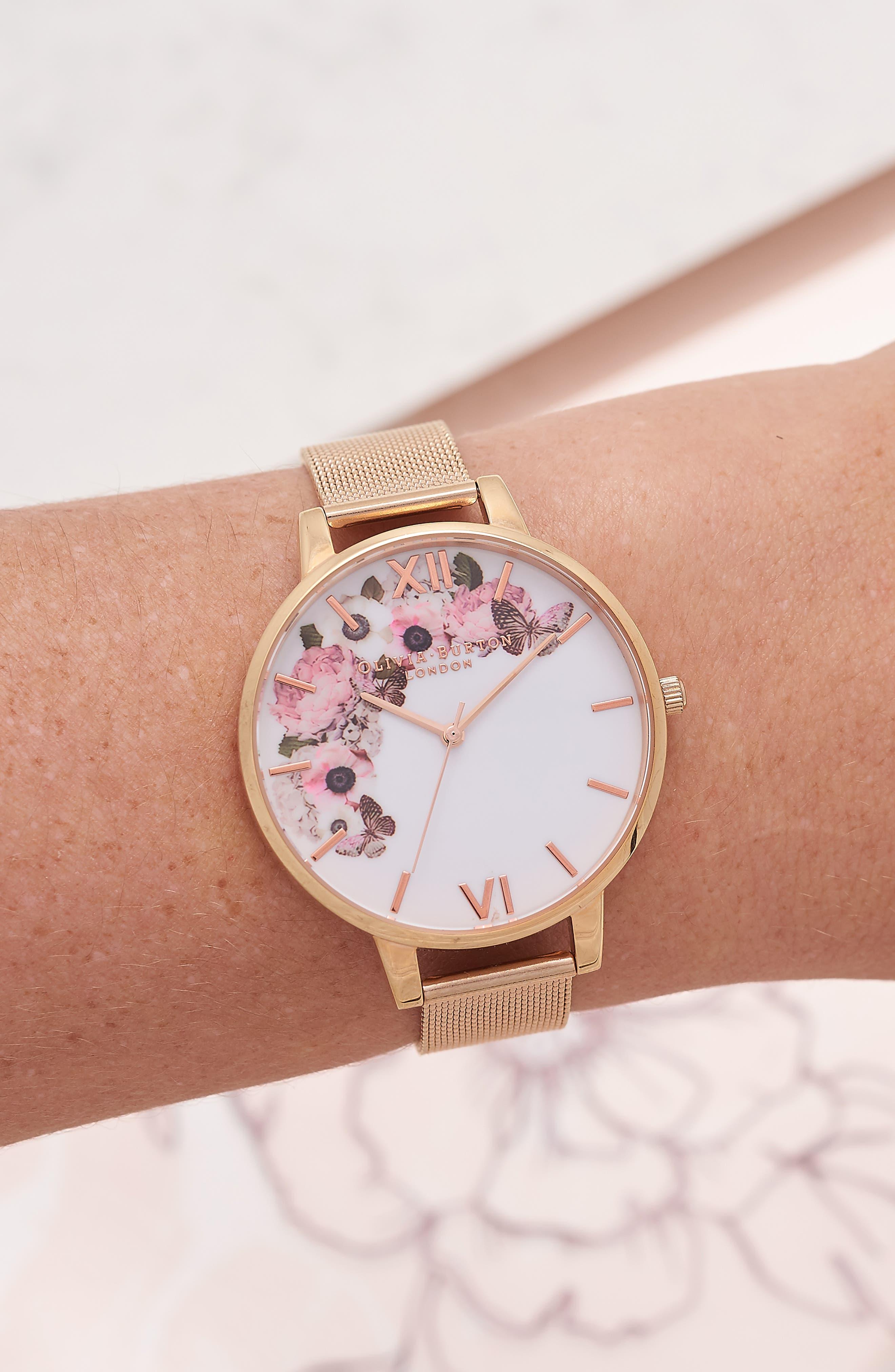 OLIVIA BURTON, Signature Florals Mesh Bracelet Watch, 38mm, Alternate thumbnail 2, color, ROSE GOLD/ ROSE GOLD/ WHITE