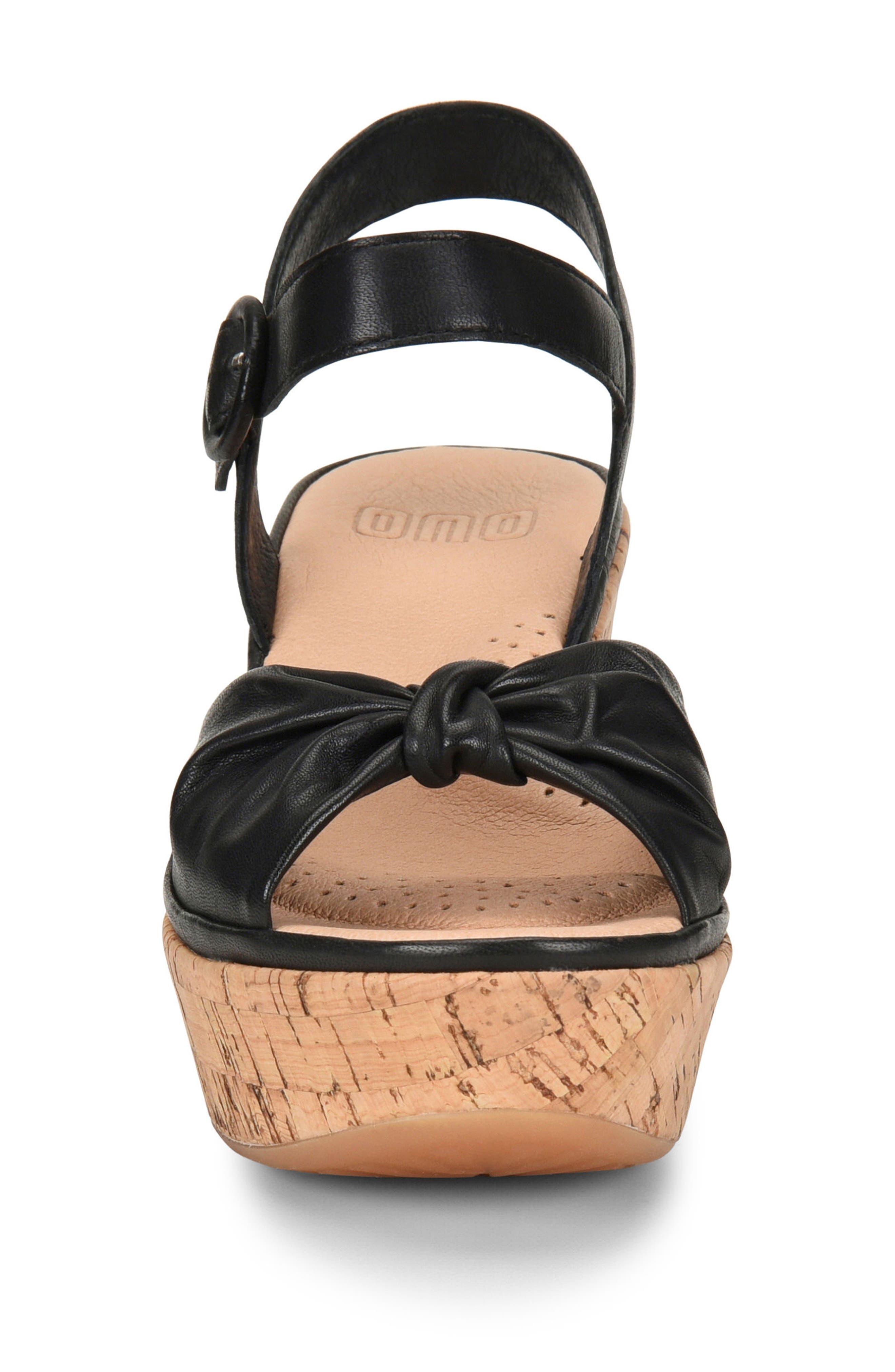 ONO, Heavenly Platform Wedge Sandal, Alternate thumbnail 4, color, BLACK LEATHER