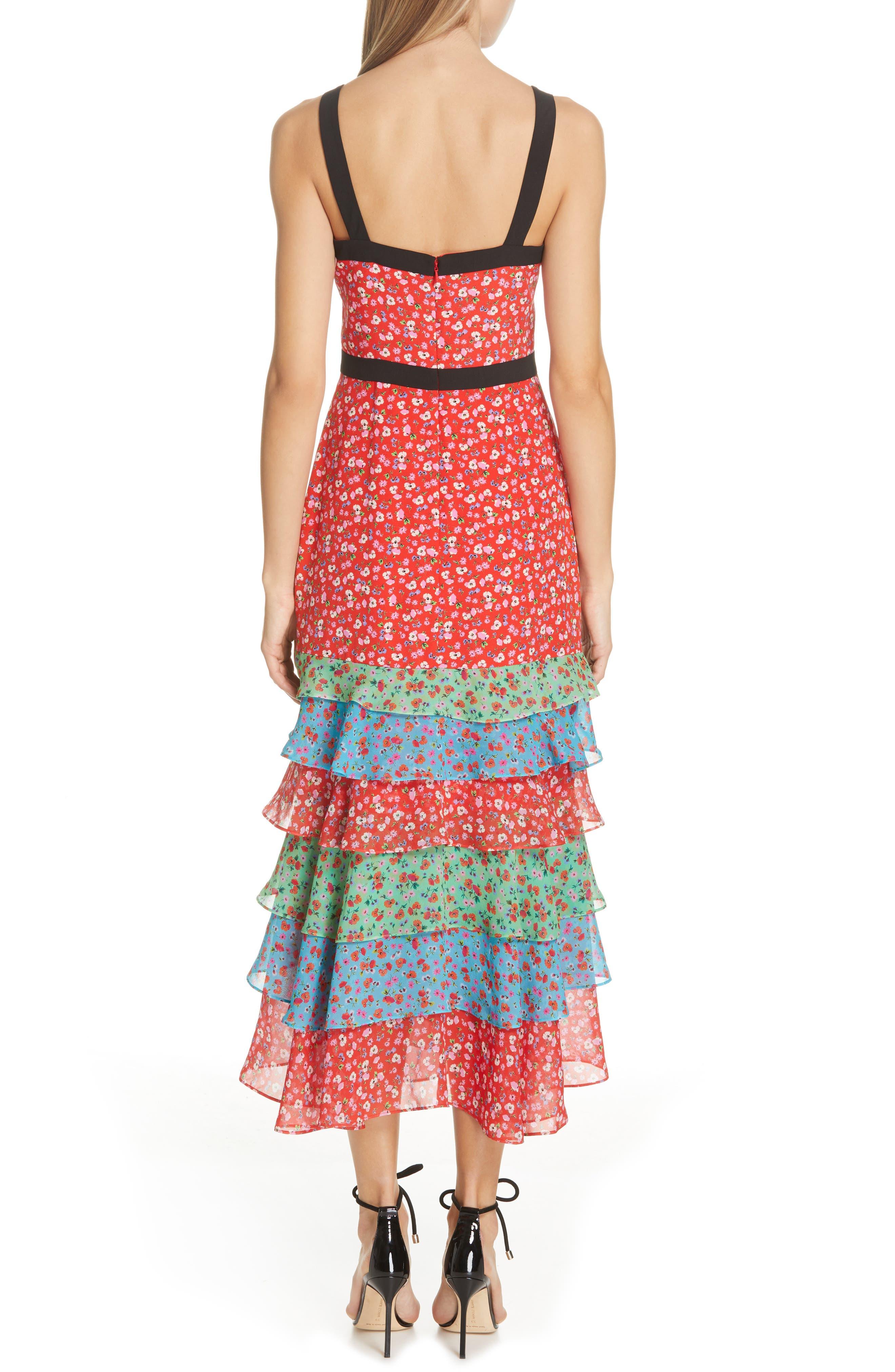 SALONI, Lana Tiered Hem Silk Midi Dress, Alternate thumbnail 2, color, ANENOME