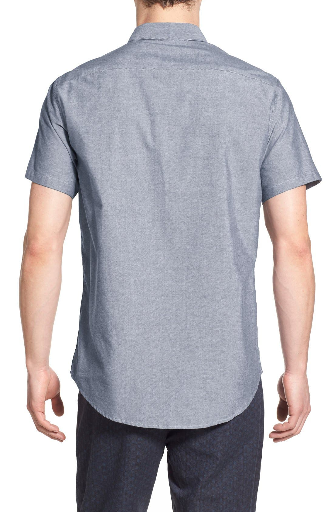 RVCA, 'That'll Do' Slim Fit Short Sleeve Oxford Shirt, Alternate thumbnail 3, color, DISTANT BLUE