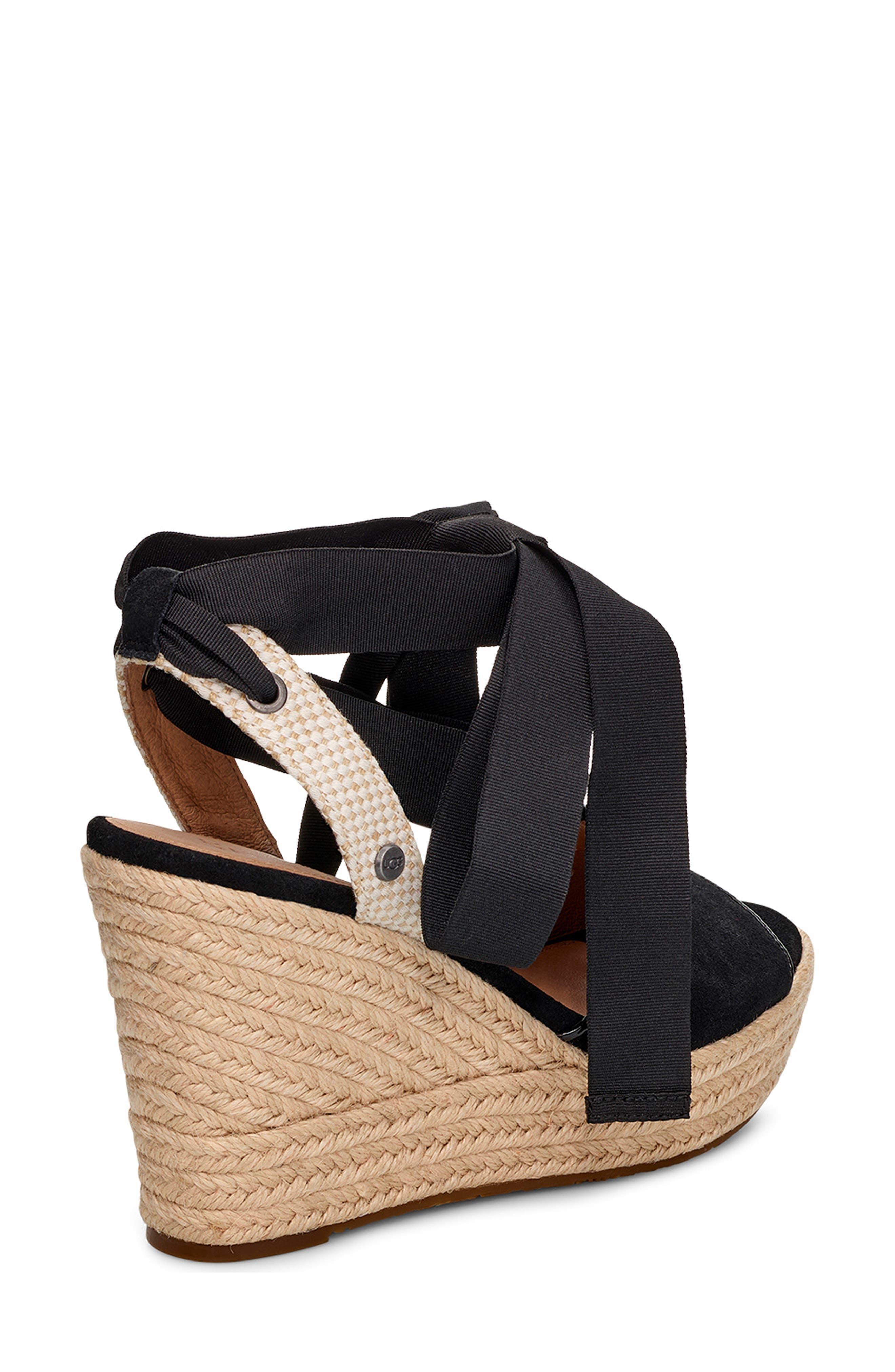 UGG<SUP>®</SUP>, Shiloh Wedge Sandal, Alternate thumbnail 2, color, BLACK FABRIC