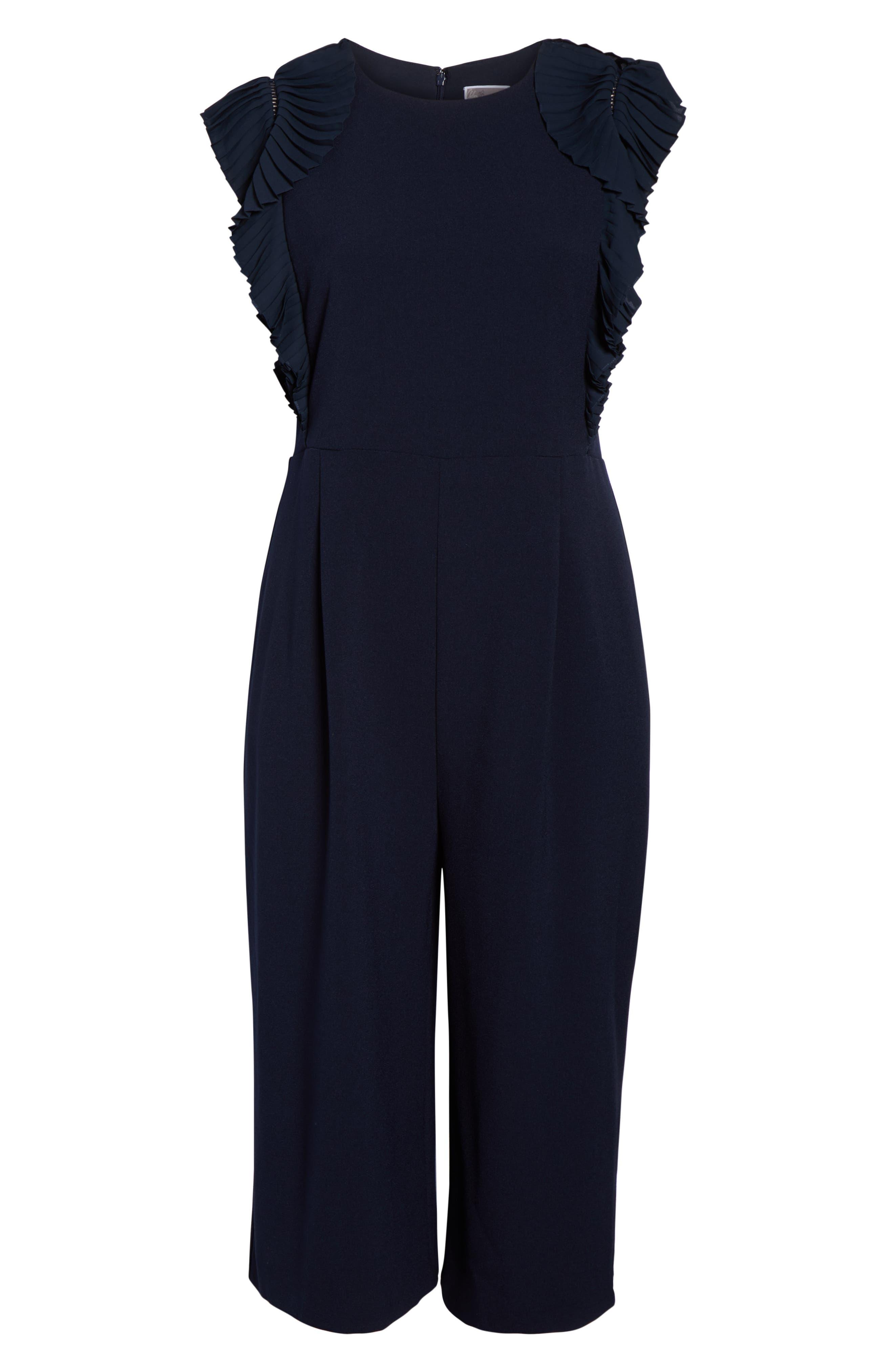 CHELSEA28, Pleat Shoulder Crop Jumpsuit, Alternate thumbnail 7, color, 401