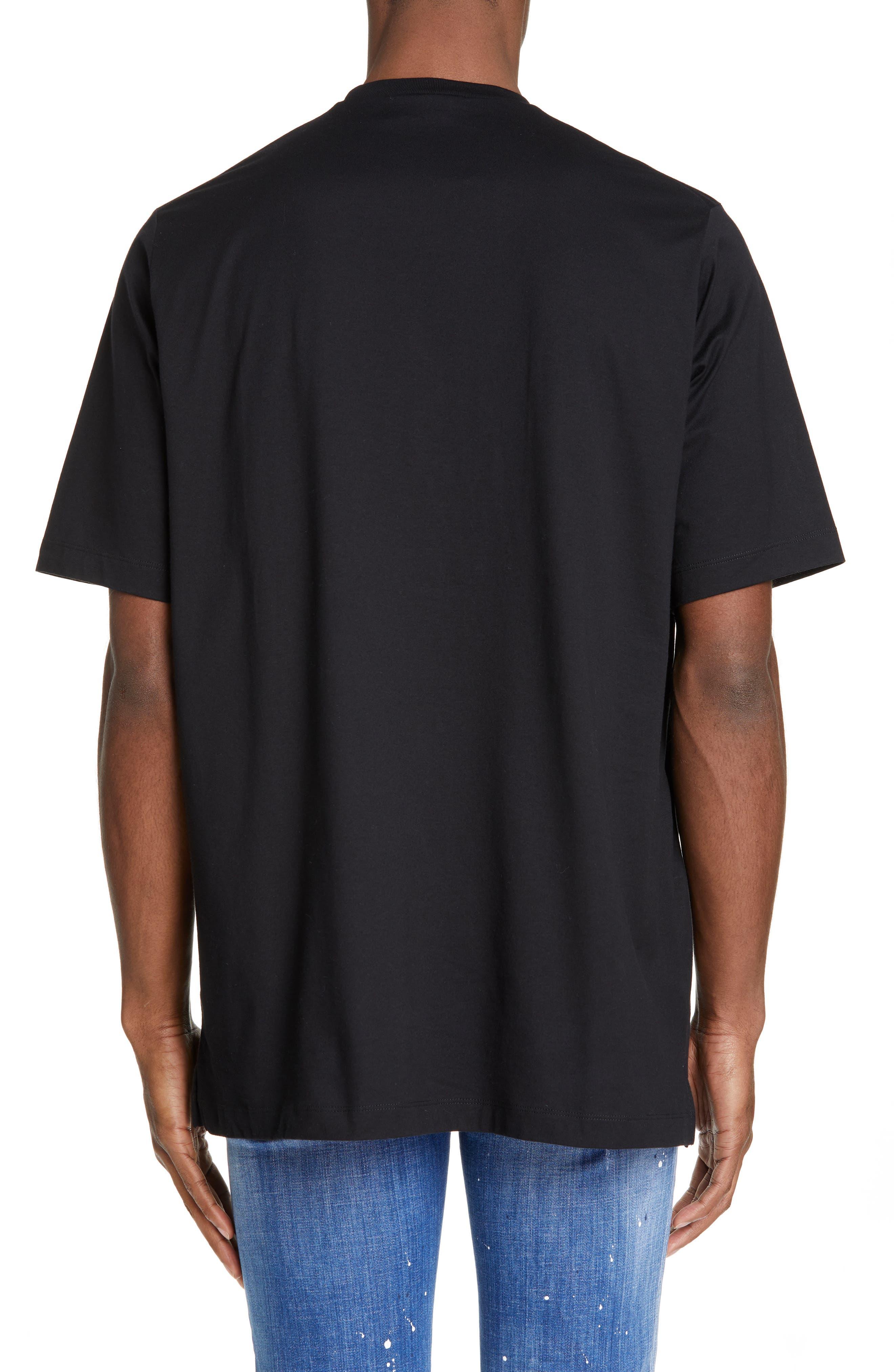 DSQUARED2, Graphic T-Shirt, Alternate thumbnail 2, color, BLACK