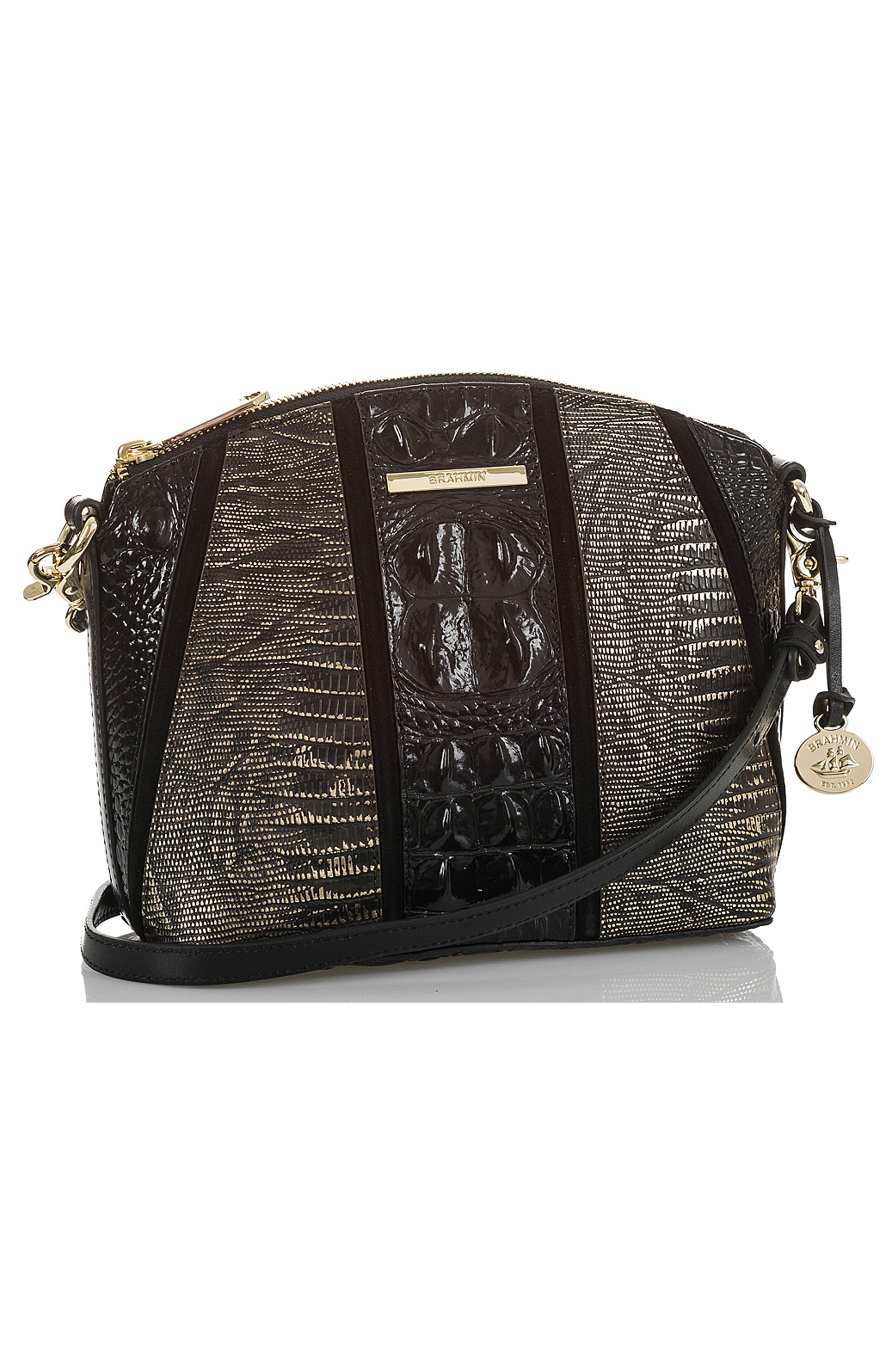 BRAHMIN, Mini Duxbury Embossed Leather Crossbody Bag, Alternate thumbnail 4, color, 028