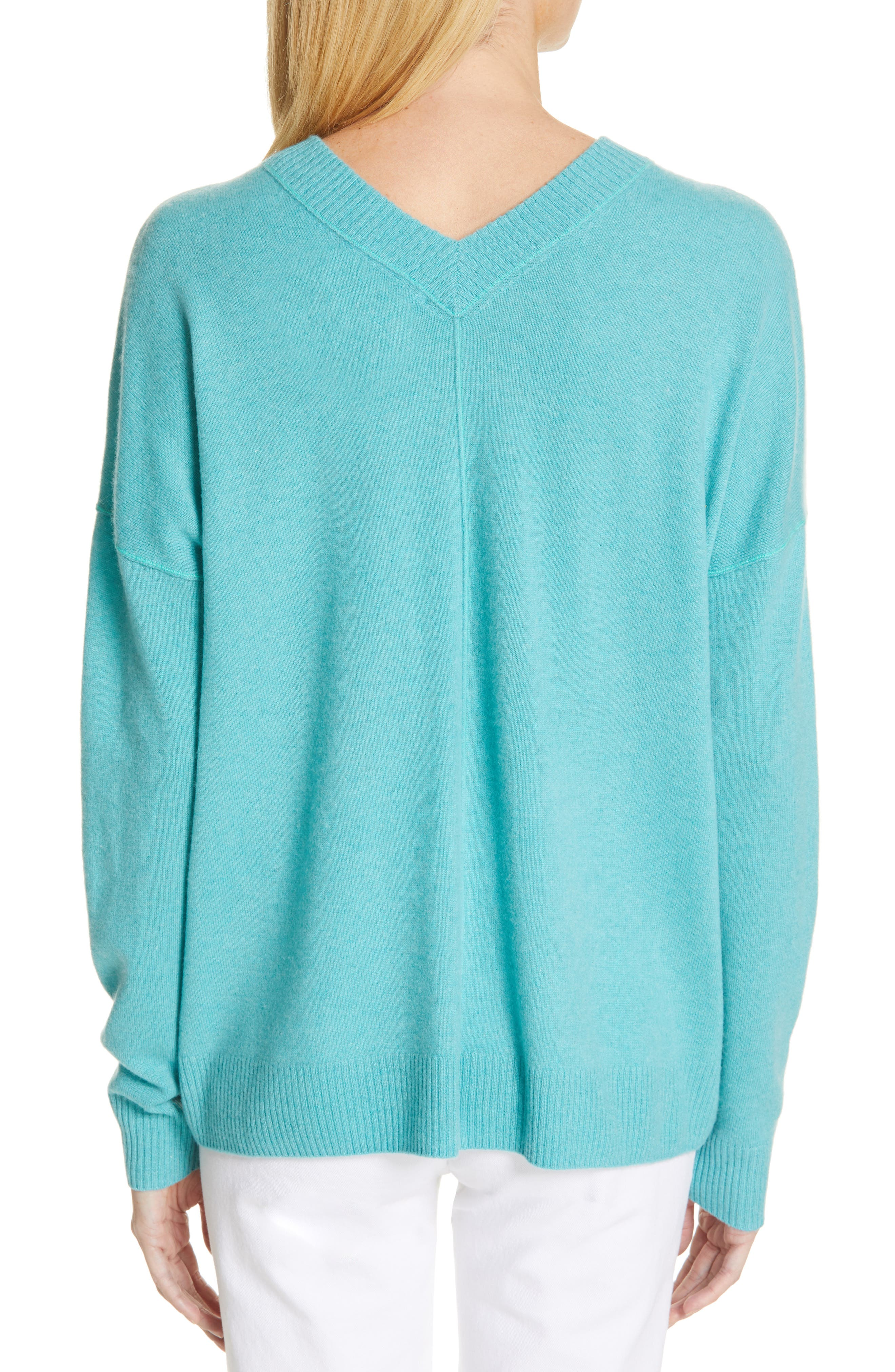 NORDSTROM SIGNATURE, Cashmere Double V-Neck Pullover, Alternate thumbnail 2, color, TEAL PORCELAIN