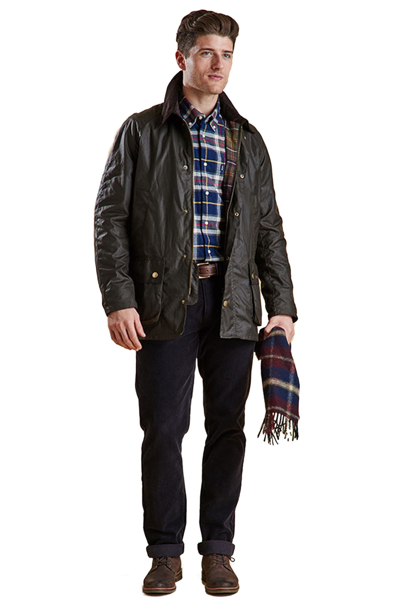 BARBOUR, Ashby Wax Jacket, Alternate thumbnail 11, color, OLIVE