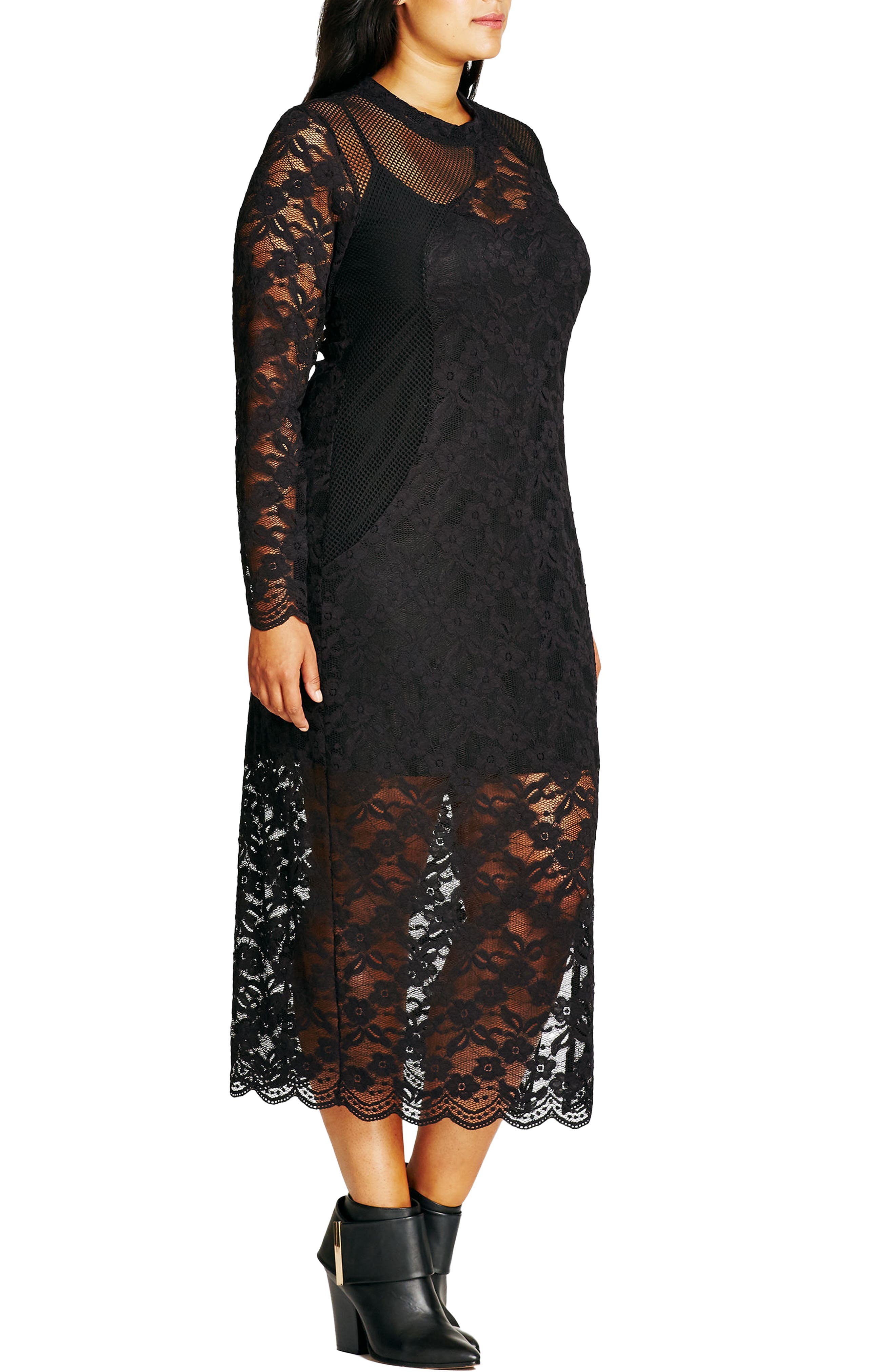 CITY CHIC, Lady Luxe Maxi Dress, Alternate thumbnail 3, color, 001